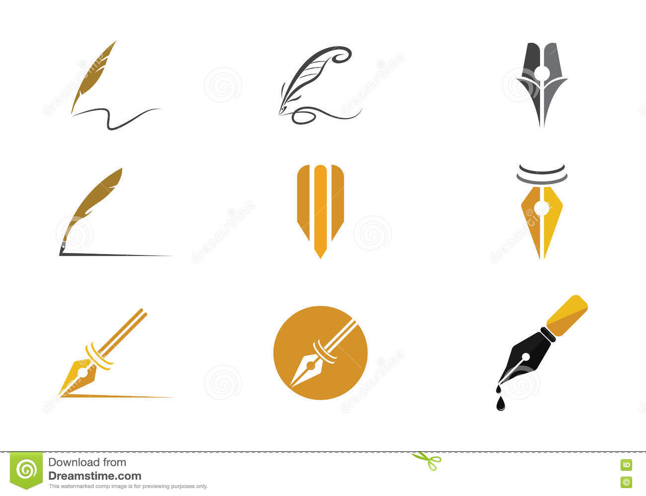 Feather pen logo vector stock illustration of