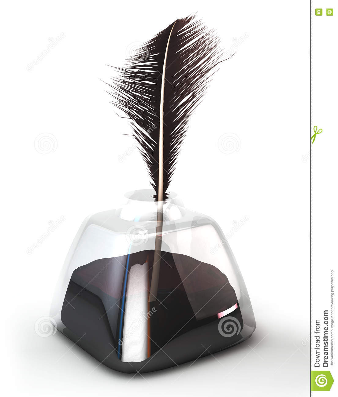 Feather quill in glass inkwell. Feather pen in the ink pot. Isolated on white. 3d illustration