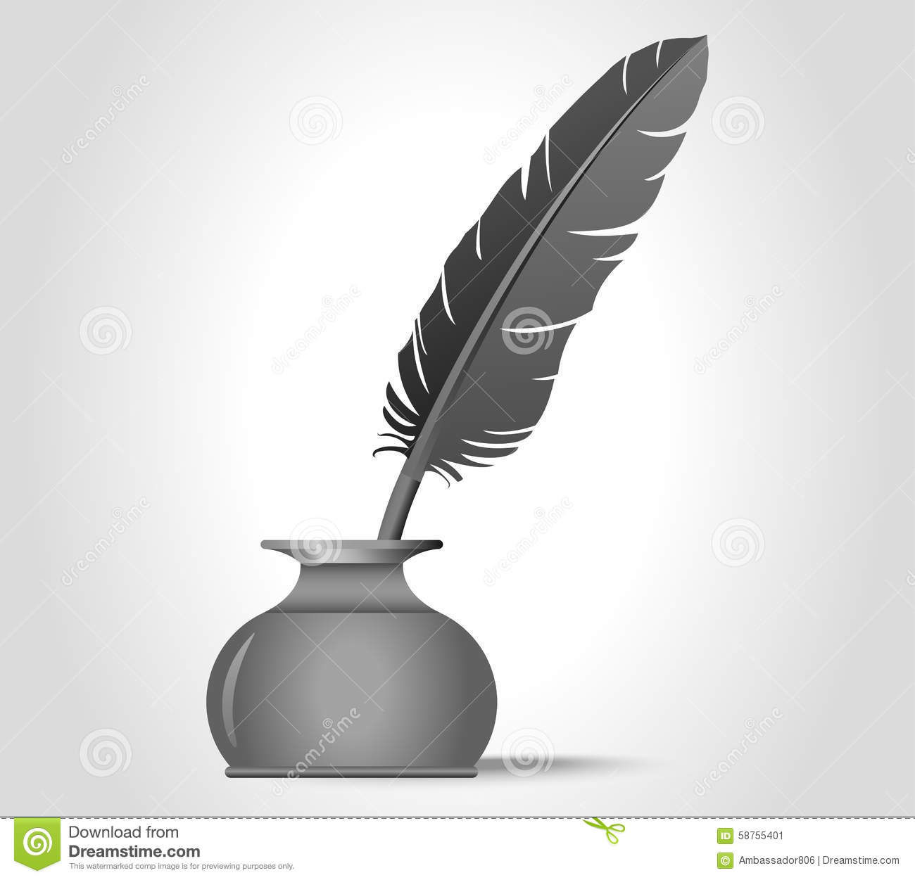 Quill And Inkwell Drawing Feather Quill In The I...