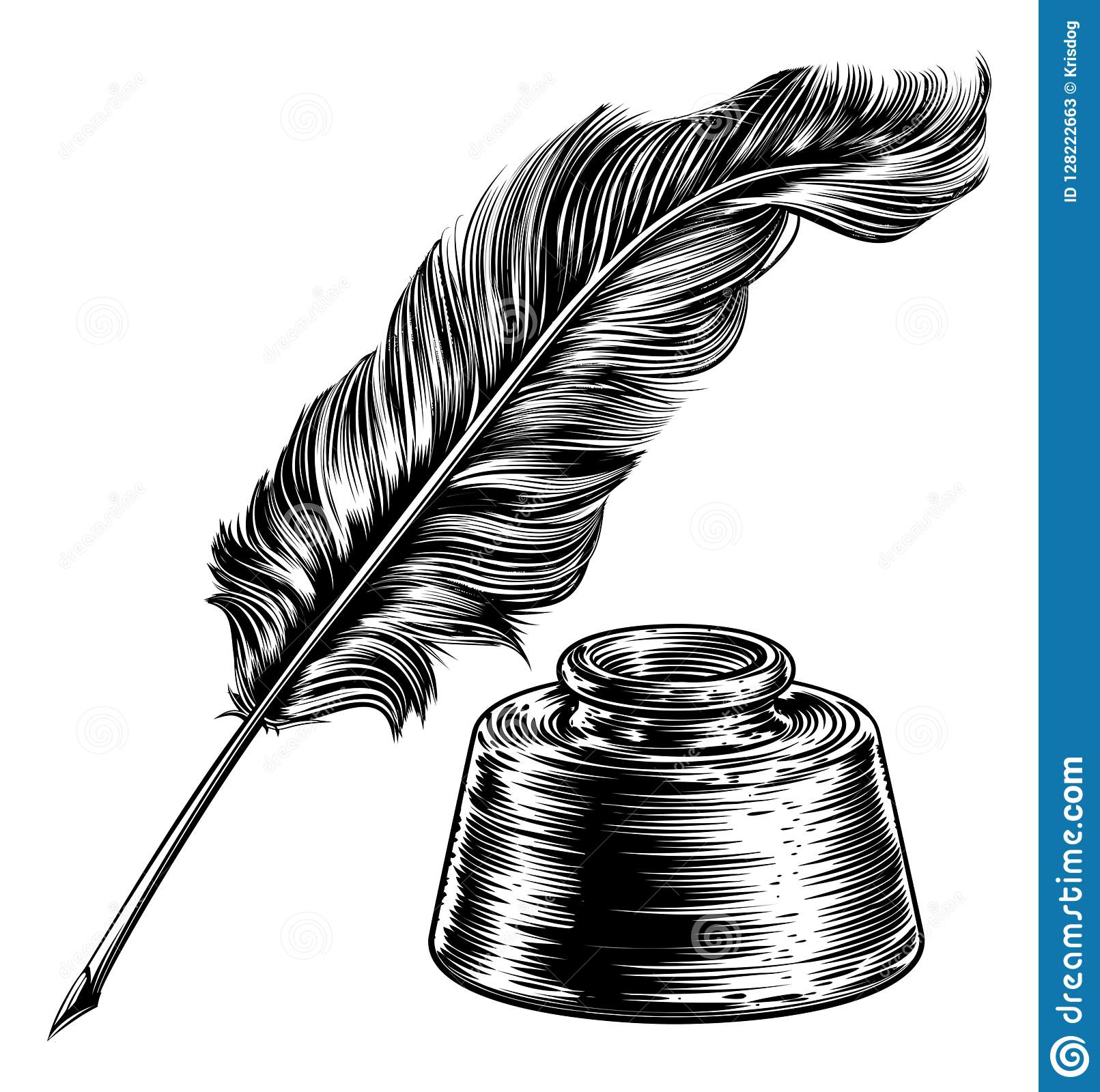 Quill Feather Pen And Ink Well Stock Vector - Illustration ...Quill And Inkwell Image