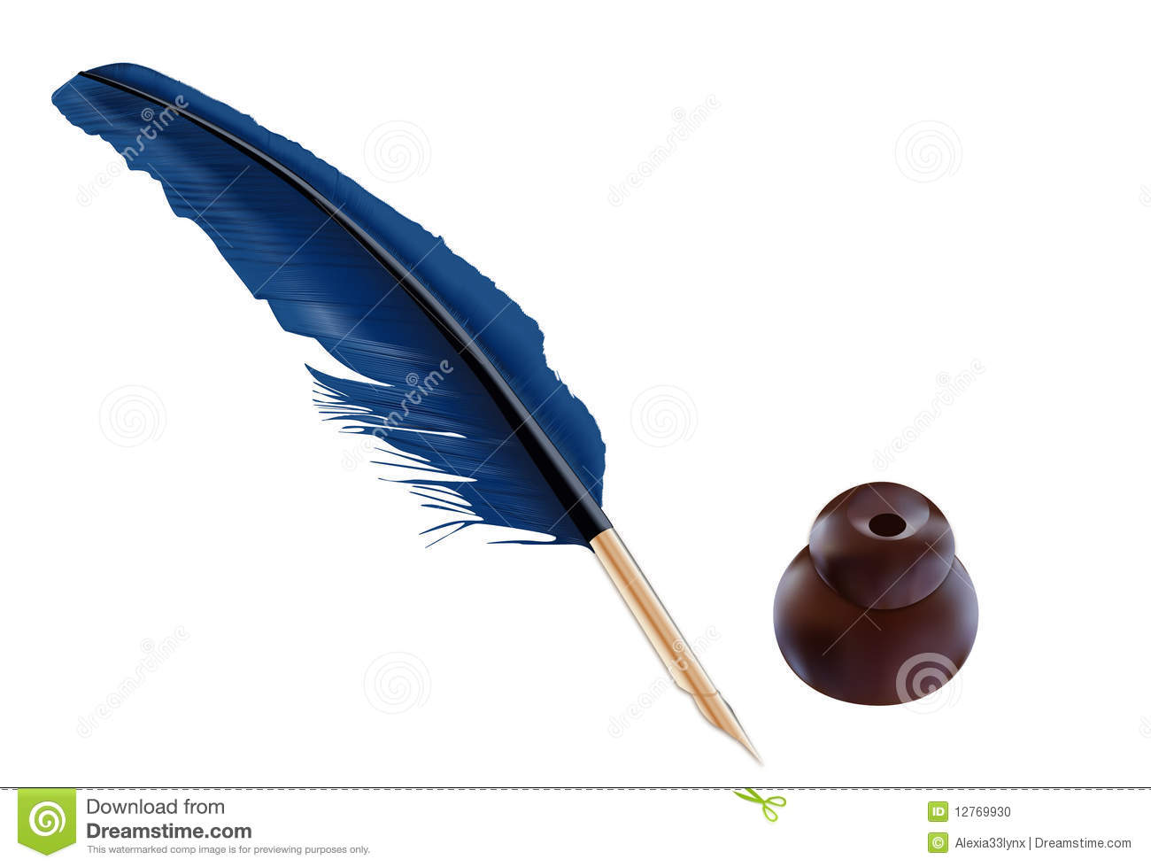 An illustration of a blue feather quill with a brown inkwell.