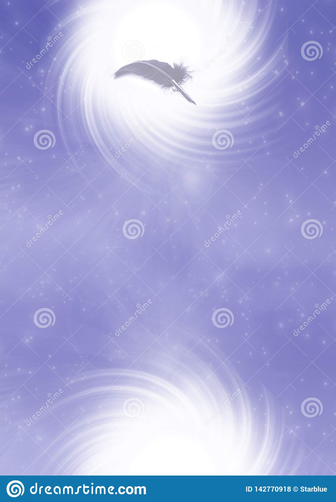 Feather quill pen in white whirl and purple background like mystical, writer, spiritual, creativity concept