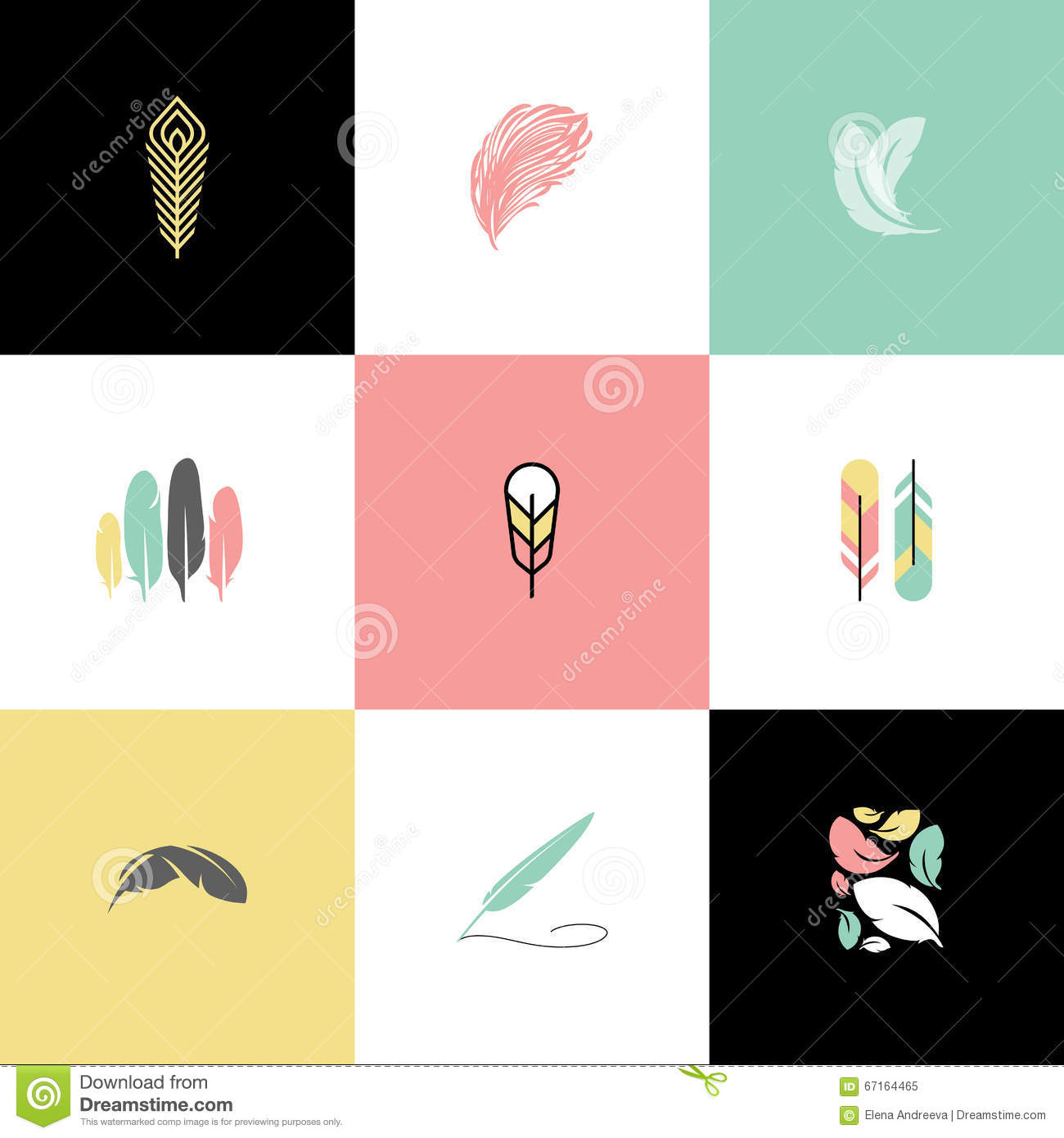 Feather Set Of Logo Design Vector Logo Templates And Icons Stock - Free modern logo templates