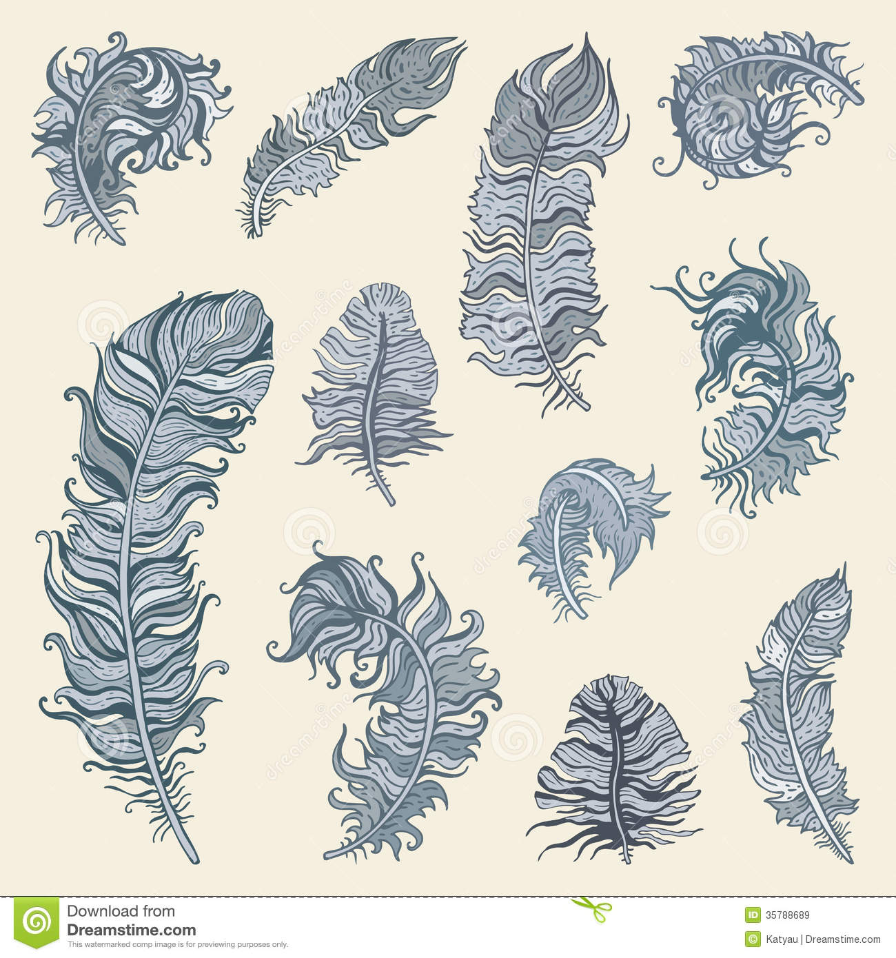 Feather Set Royalty Free Stock Images - Image: 35788689