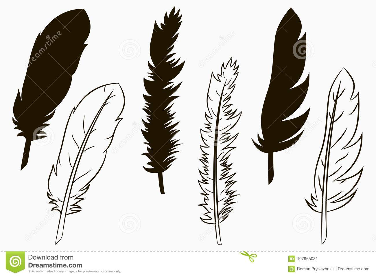 Feathers of birds. Set of silhouette and line drawn feather. Vector.