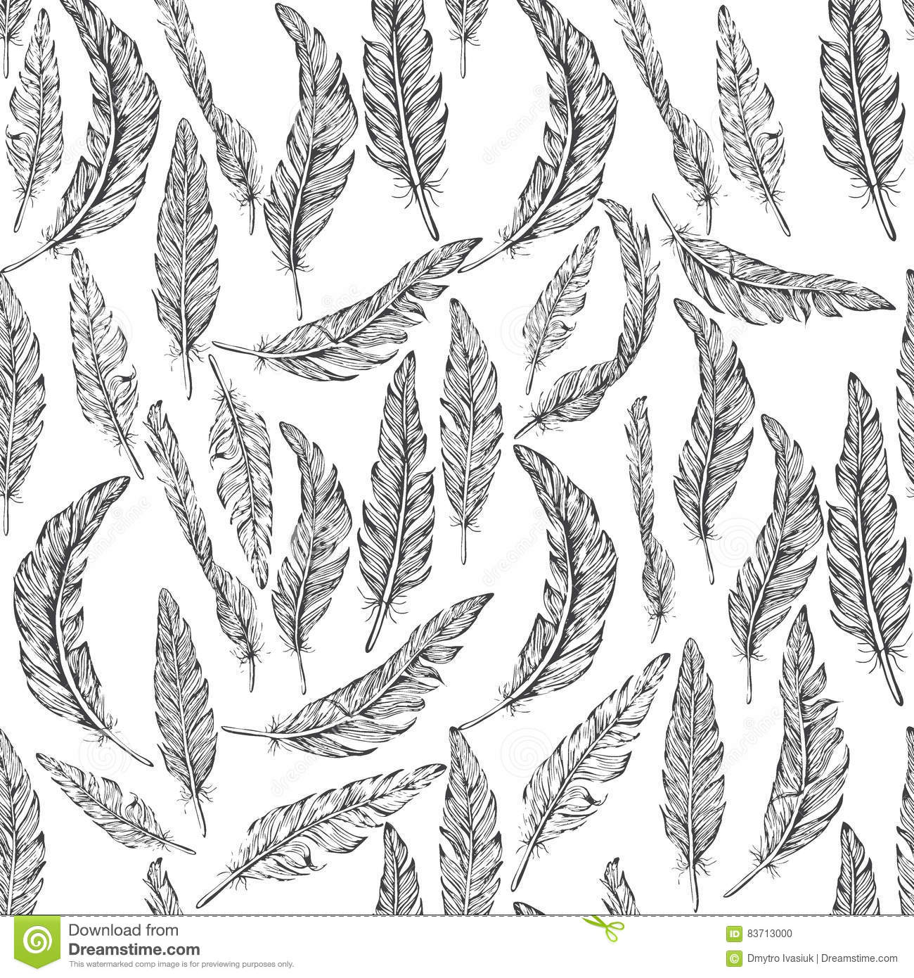 Feathers Seamless Pattern, Stock Vector