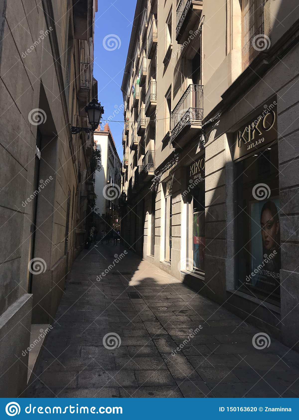The narrow streets of the hot summer of Barcelona,Spain, Europe,