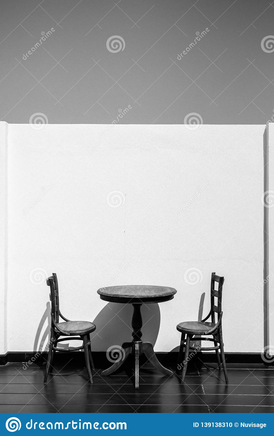 Vintage Wooden Dining Table And Chairs At Outdoor Balcony Stock Photo Image Of Furniture Seat 139138310