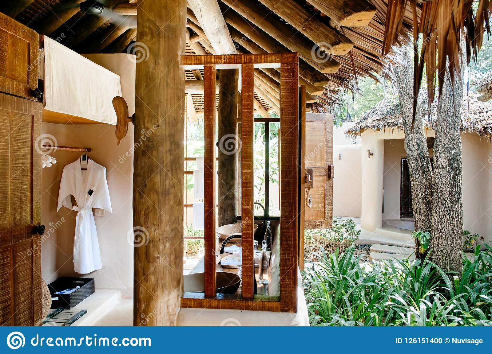 Thatched Roof Open Air Bathroom Tropical Resort Style Interior W Editorial Image Image Of Decoration Bath 126151400