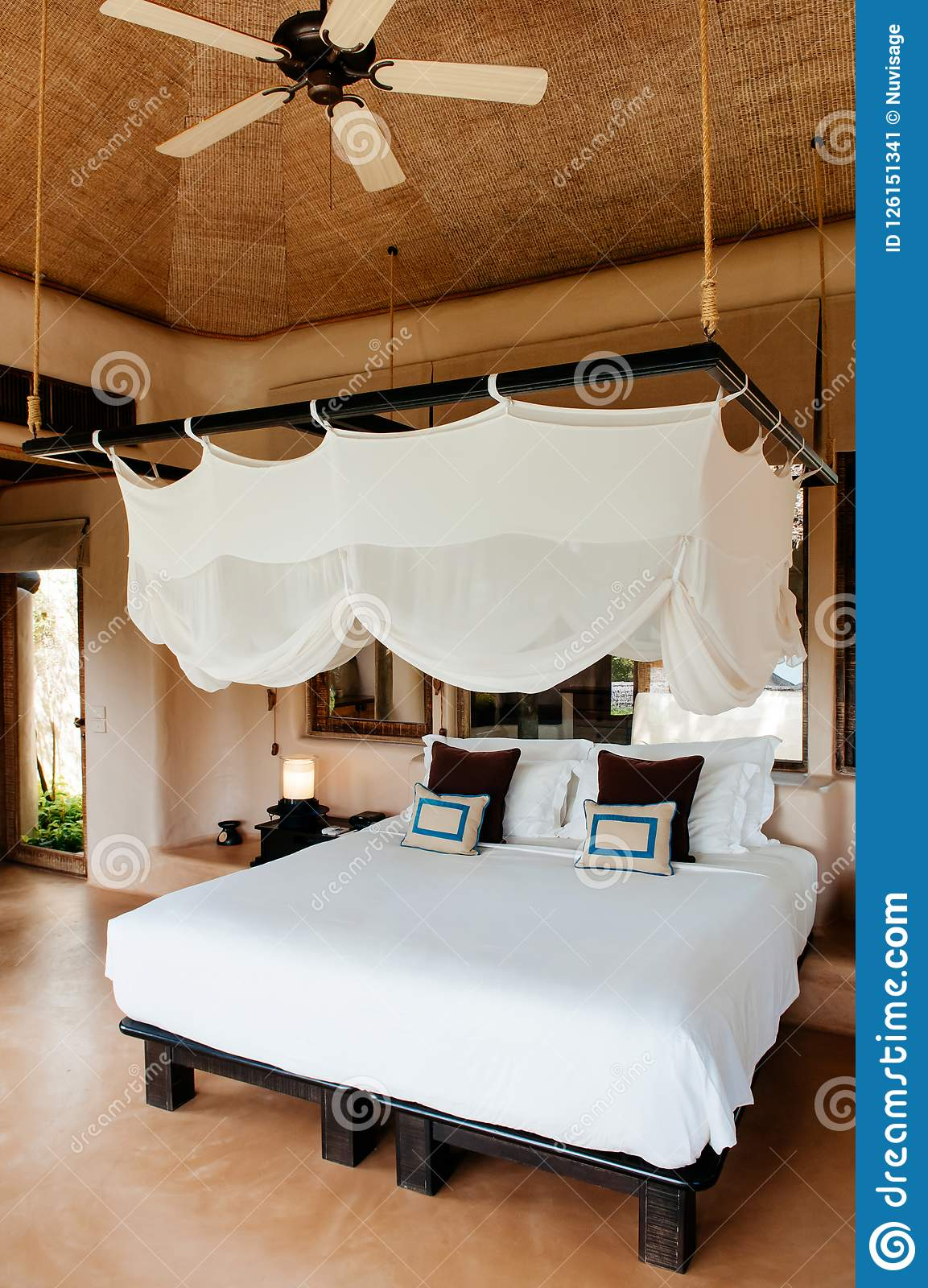 Tropical Resort Bedroom With Wooden Bed Stylish Mosquito Net An