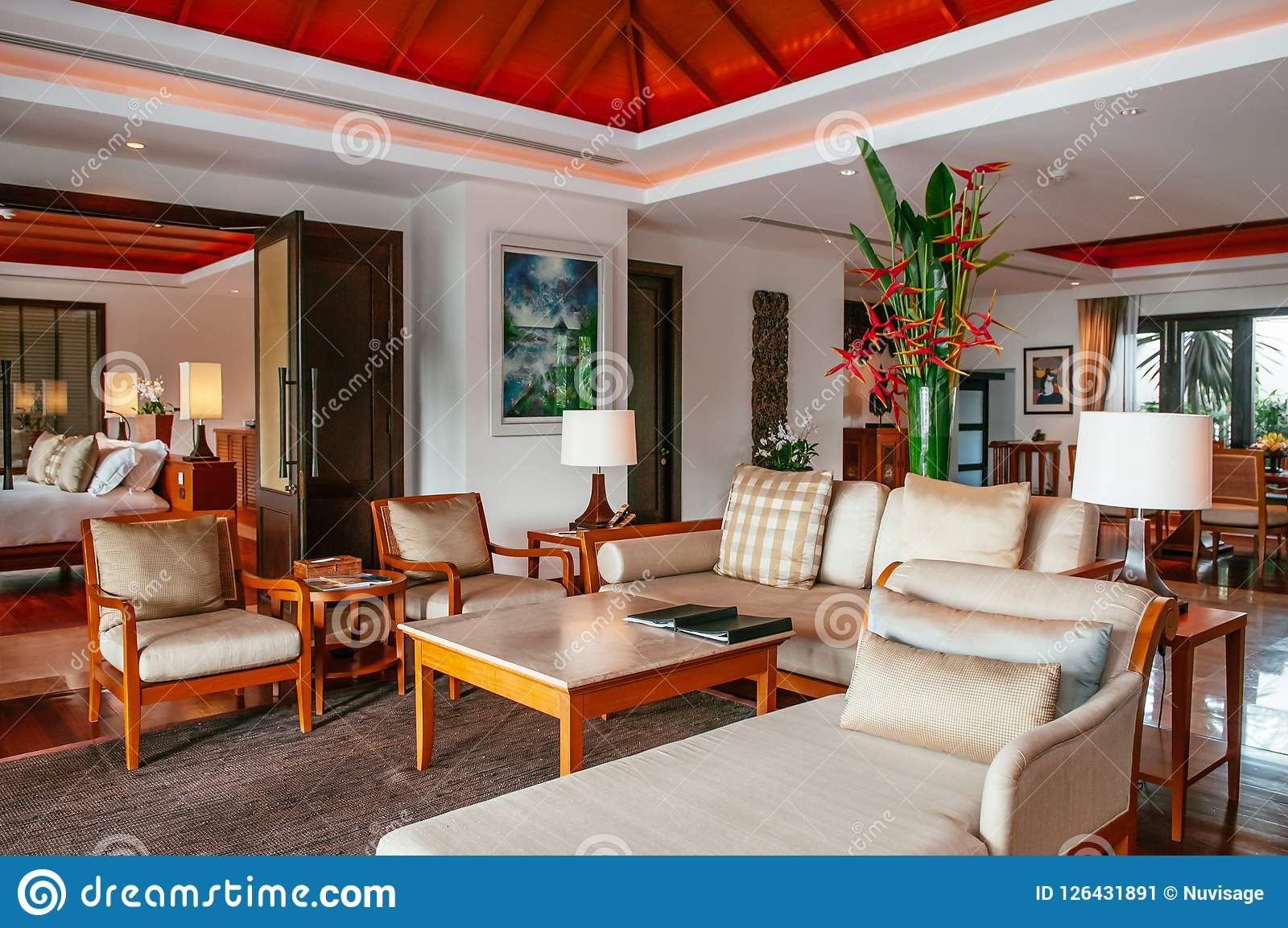 Tropical Resort Villa Living Room With Wooden Furniture