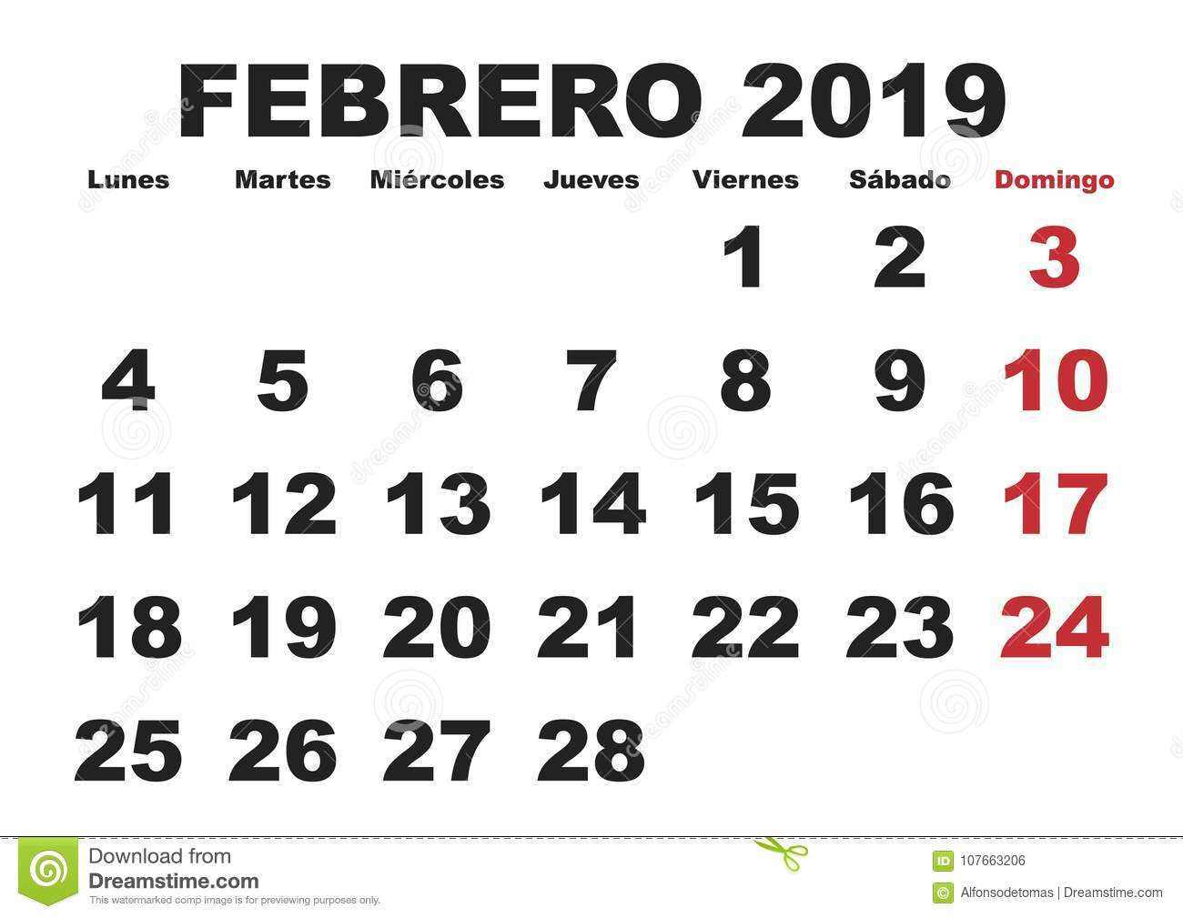 Spanish February Calendar 2019 Febrero 2019 Wall Calendar Spanish Stock Vector   Illustration of