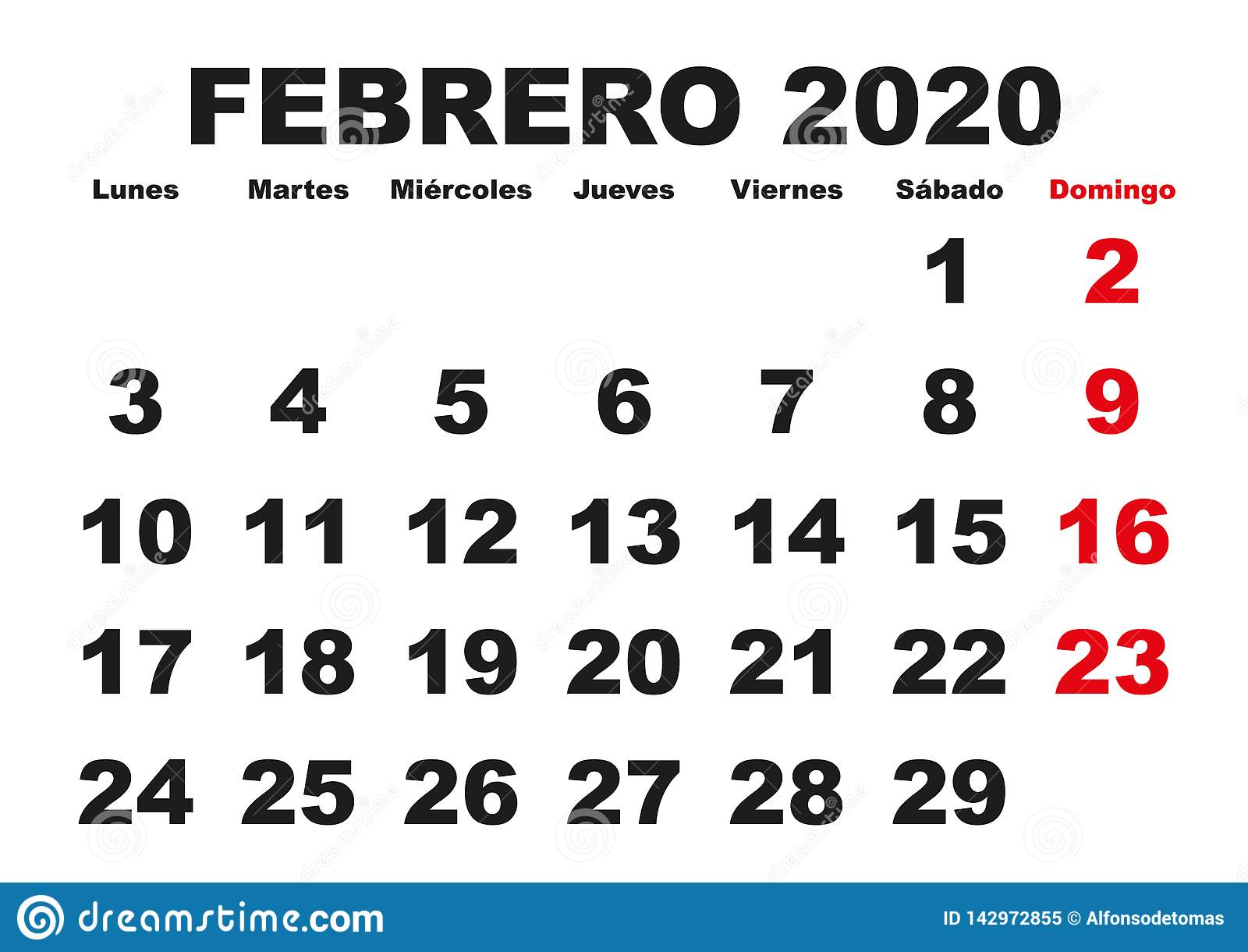 February 2020 Spanish Calendar Febrero 2020 Wall Calendar Spanish Stock Vector   Illustration of