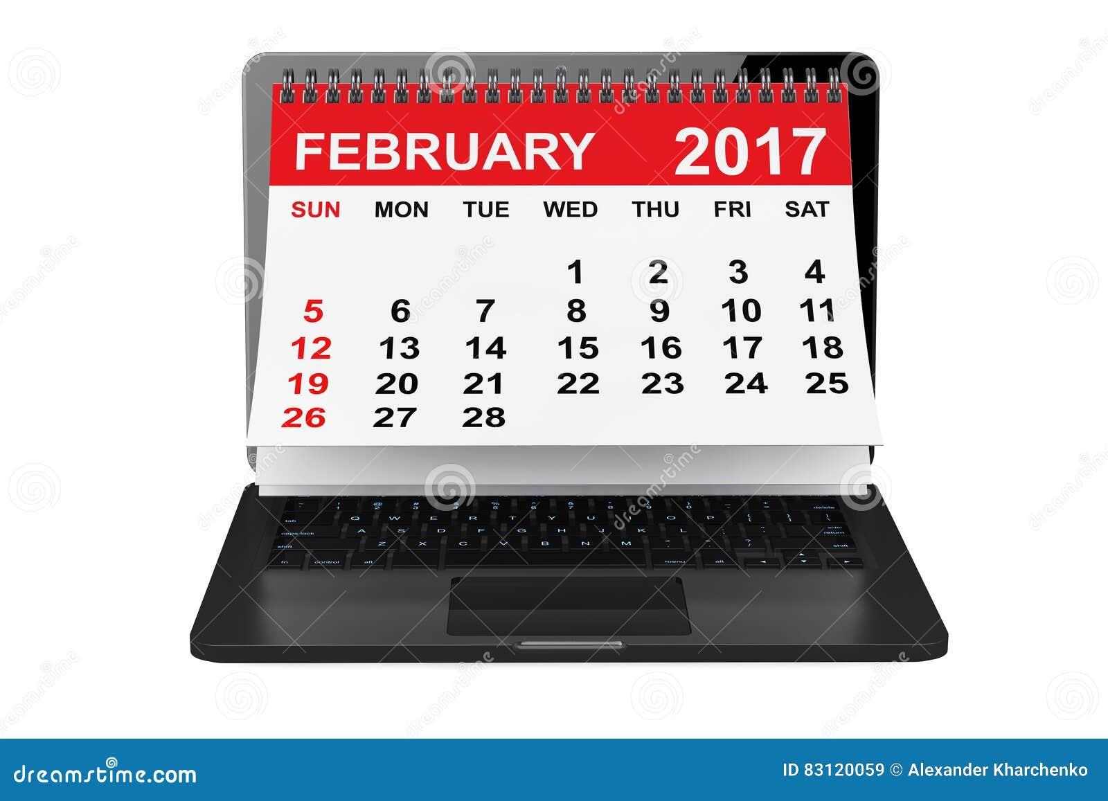 Februar 2017 Kalender über