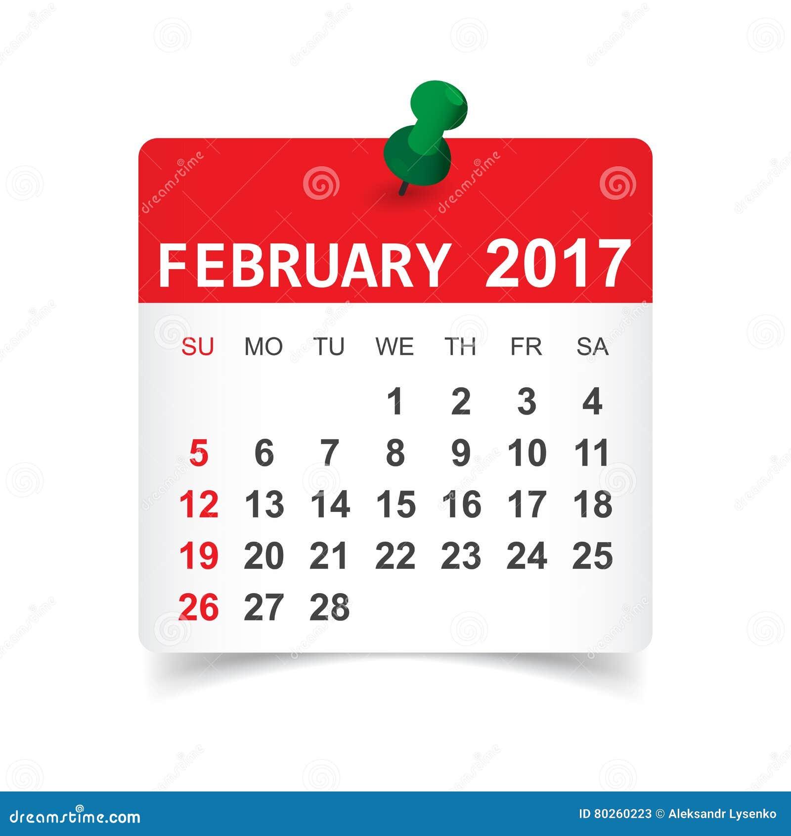 Februari 2017 kalender