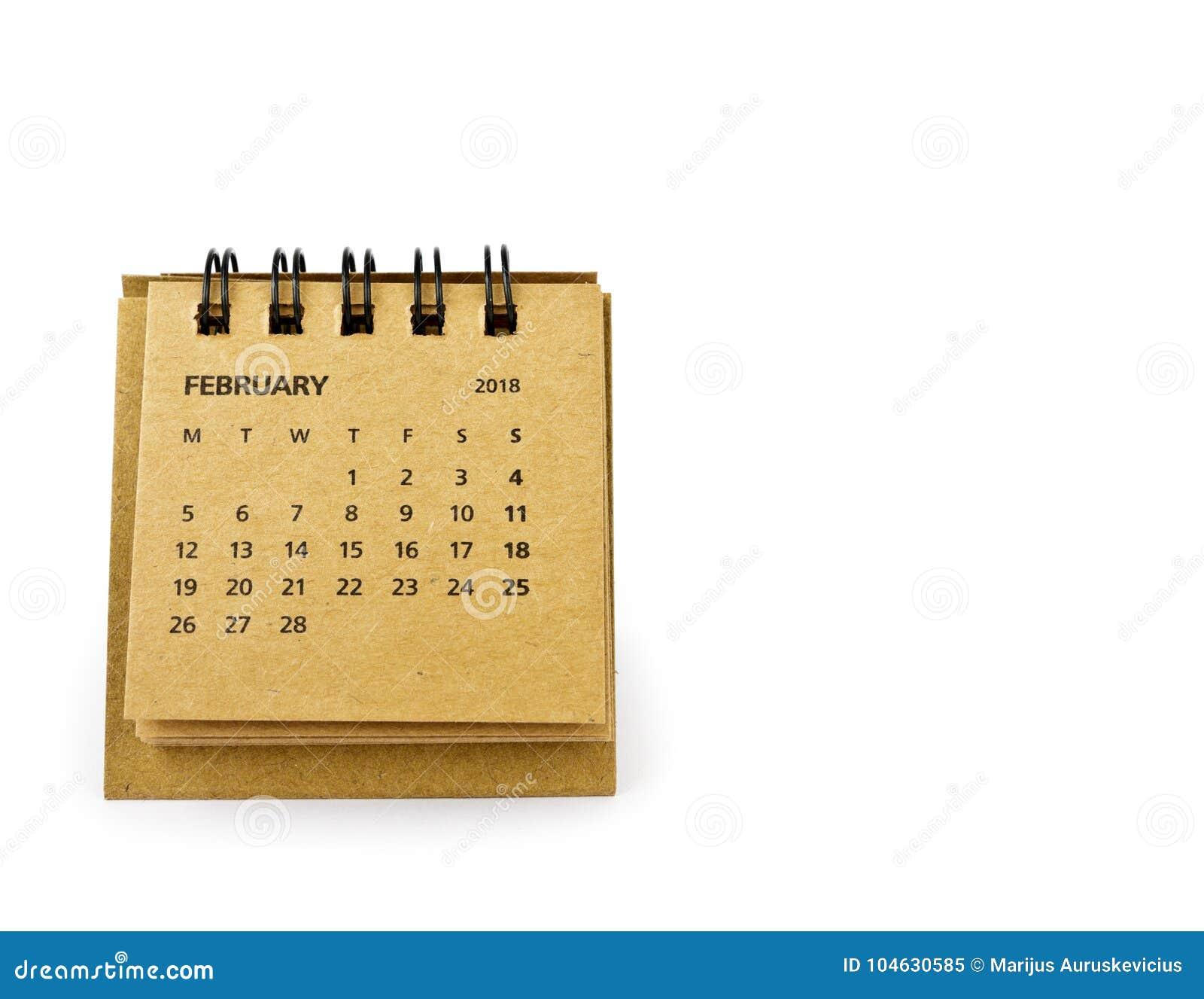 Download Februari Kalenderblad Op Wit Stock Afbeelding - Afbeelding bestaande uit document, helder: 104630585