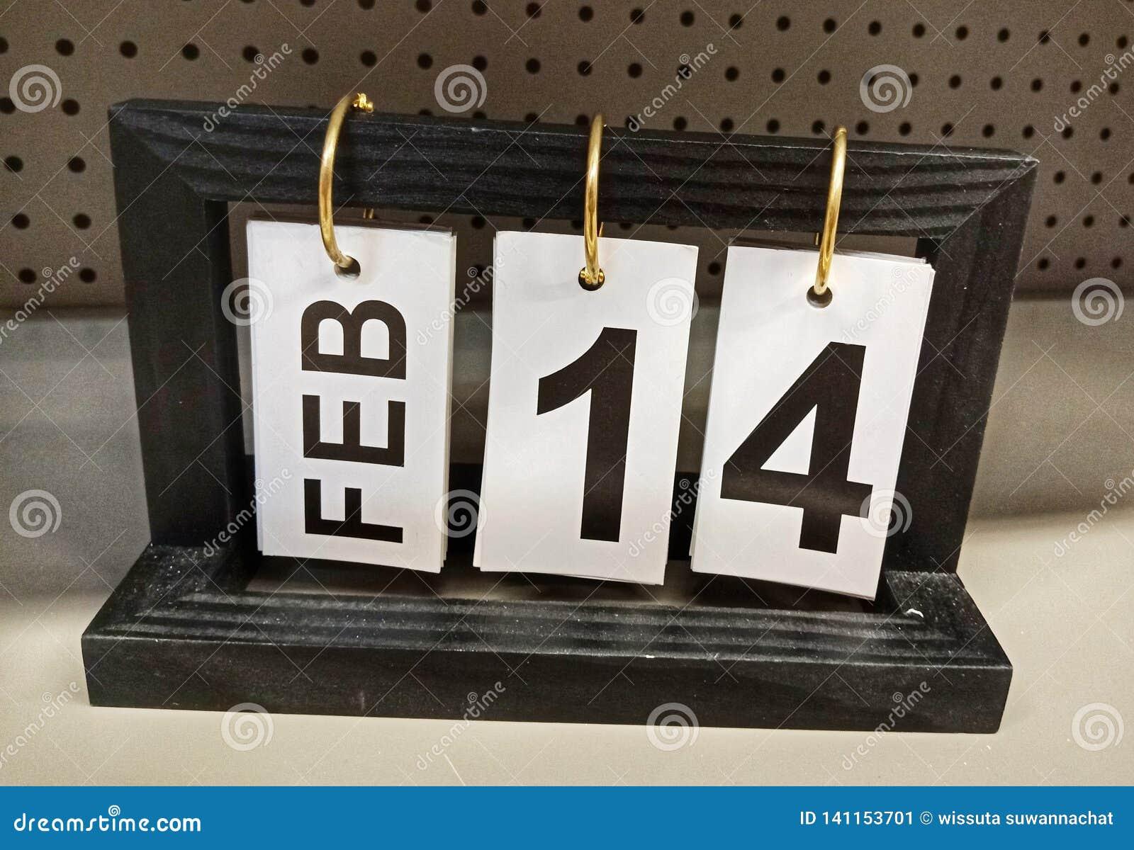 Februari 14, kalendersymbol