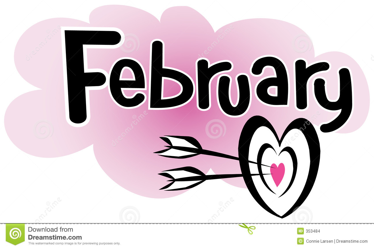 Headline of February with a heart target with arrows.