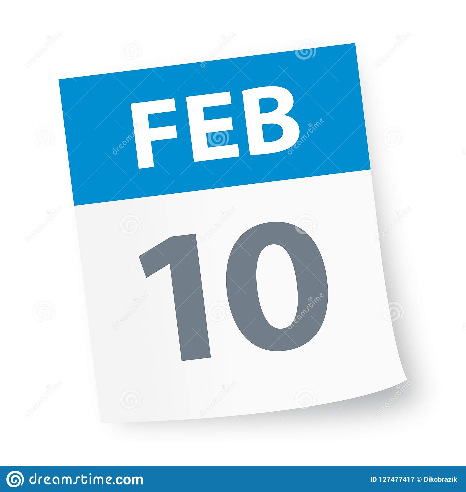 February 10 2019 Calendar February 10   Calendar Icon Stock Illustration   Illustration of