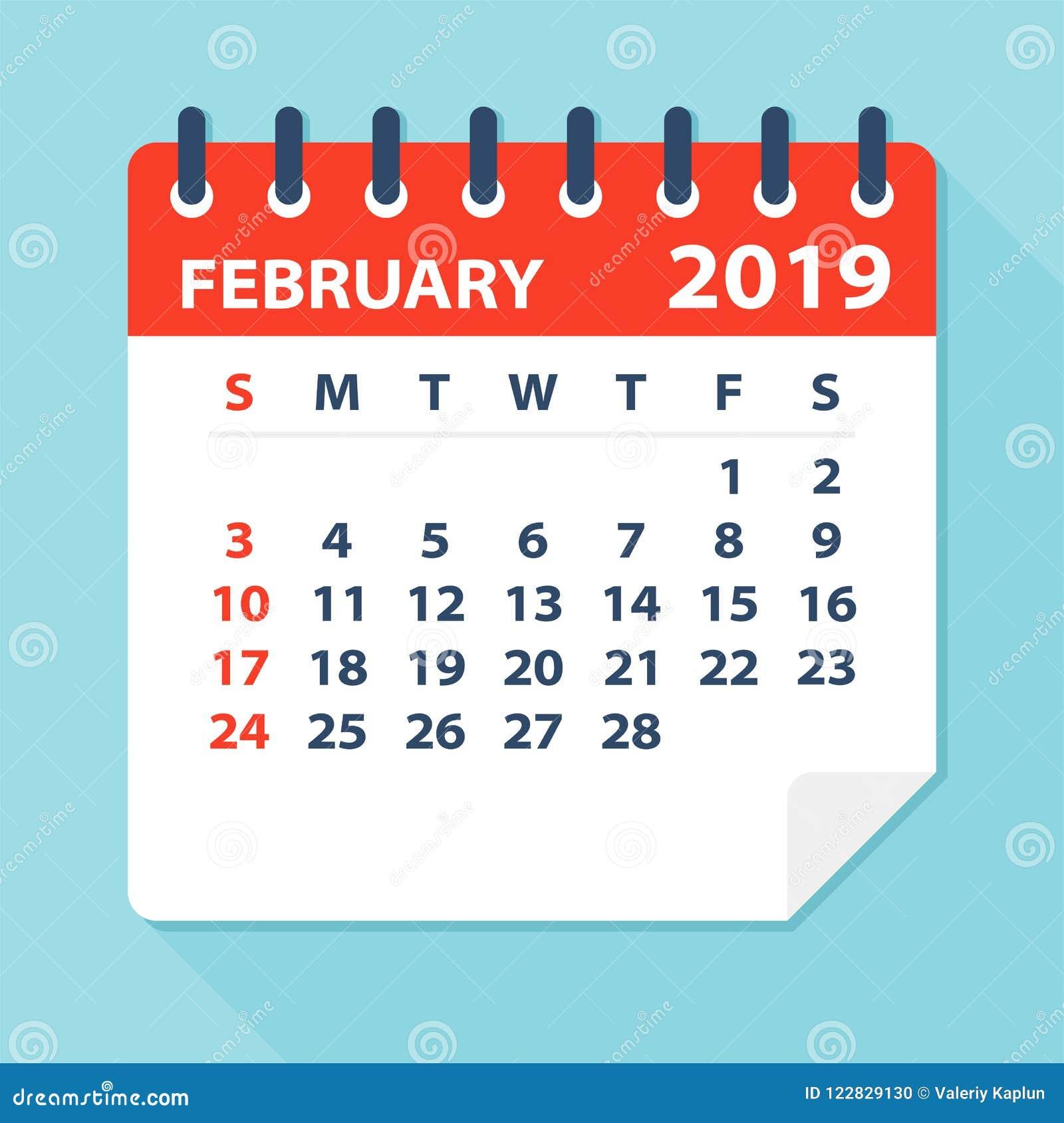 Calendar Page Image February 1 2019 February 2019 Calendar Leaf   Vector Illustration Stock