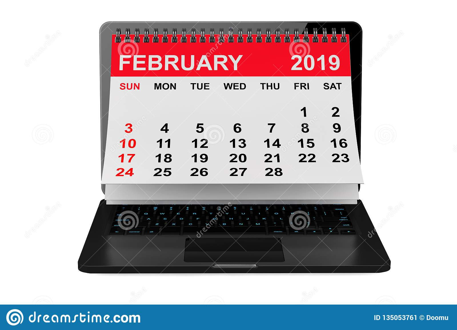 Electronic February 2019 Calendar February 2019 Calendar Over Laptop Screen. 3d Rendering Stock