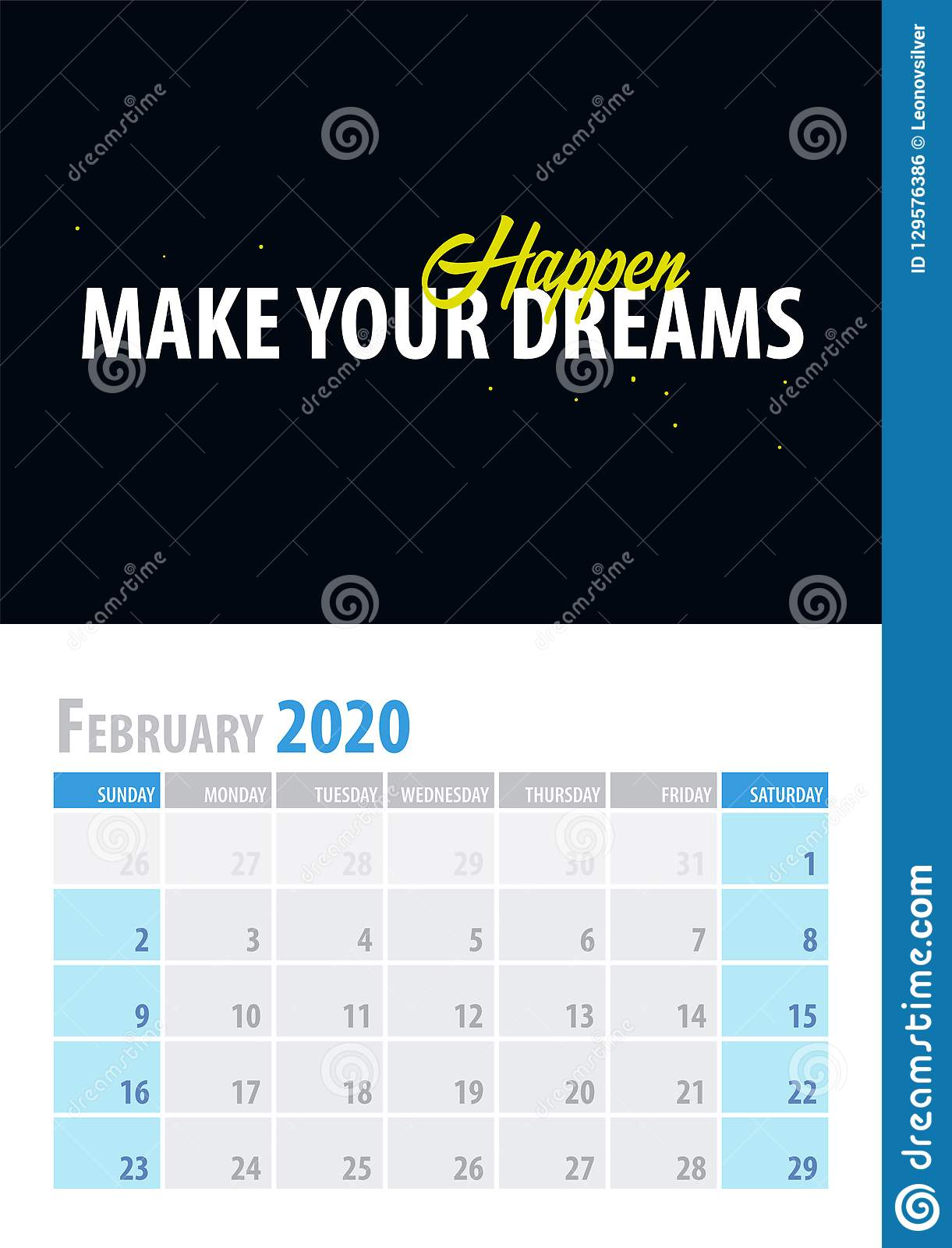February Calendar Background 2020 February. Calendar Planner 2020 With Motivational Quote On Black