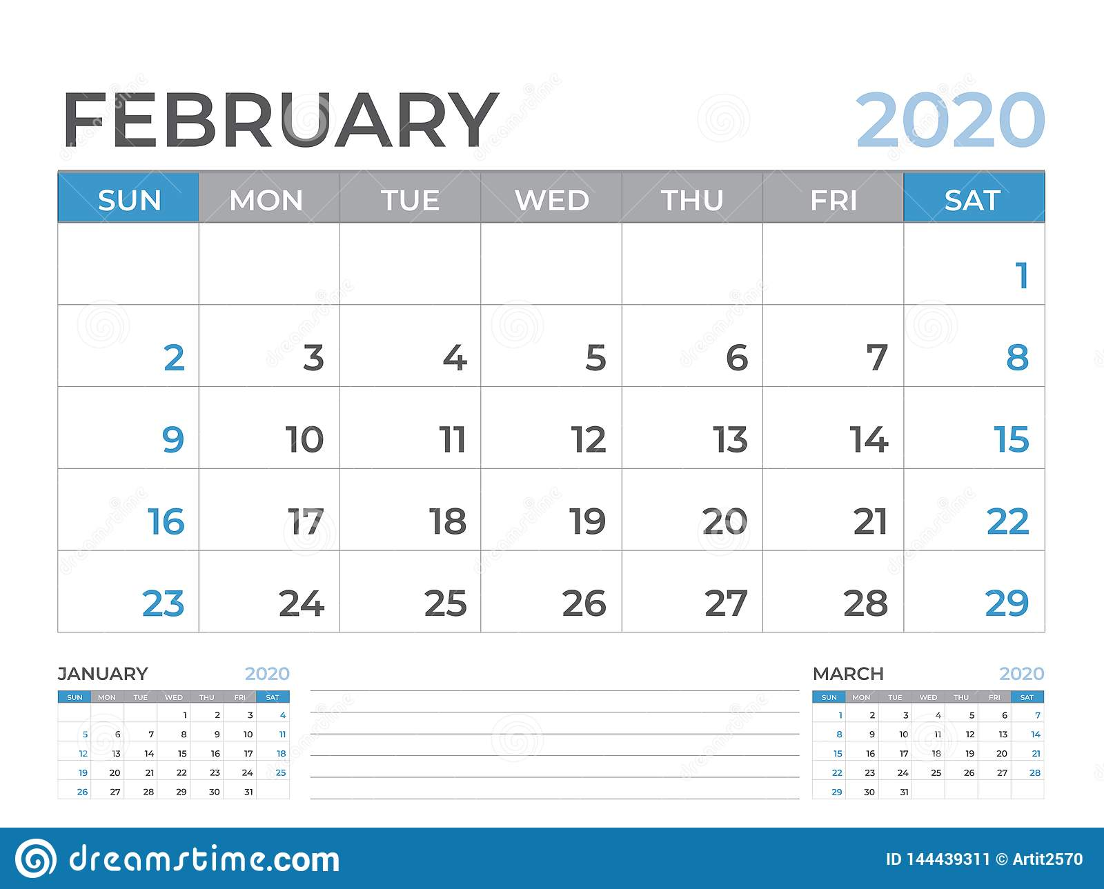 February 2020 Calendar template, Desk calendar layout Size 8 x 6 inch, planner design, week starts on sunday, stationery design