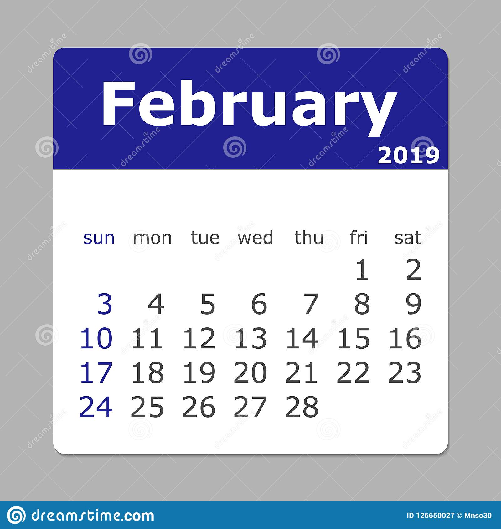 February 2019 Calendar Week Starts Sunday Layers Grouped For Stock