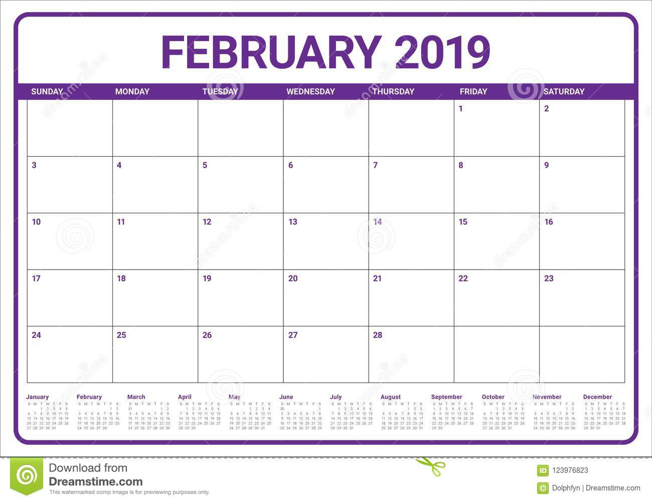 February 2019 Desk Calendar Vector Illustration Stock Vector