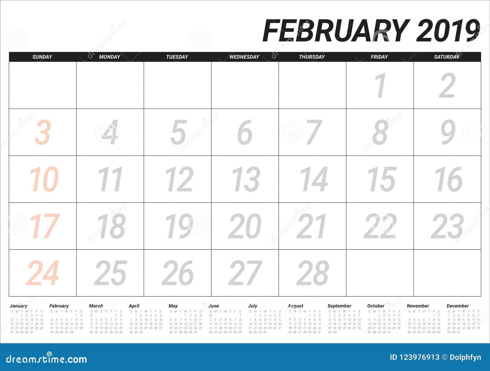 February Calendar 2019 Date February 2019 Desk Calendar Vector Illustration Stock Vector