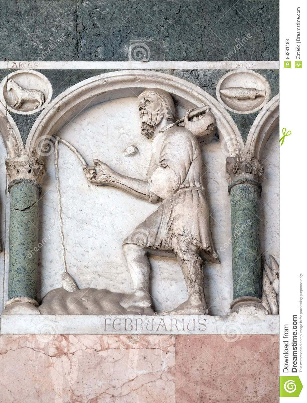 February, detail of the bass-relief representing the Labor of the months of the year, Cathedral in Lucca, Italy