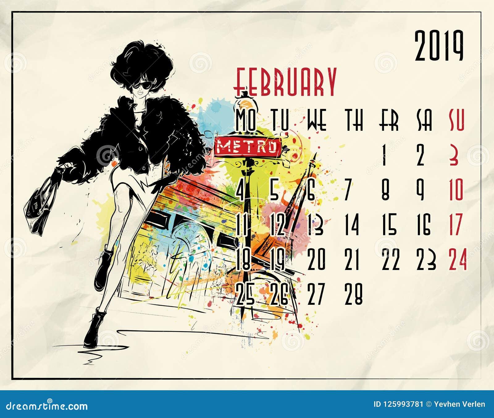 February 2019 Fashion Calendar February. 2019 European Calendar With Fashion Girl Stock