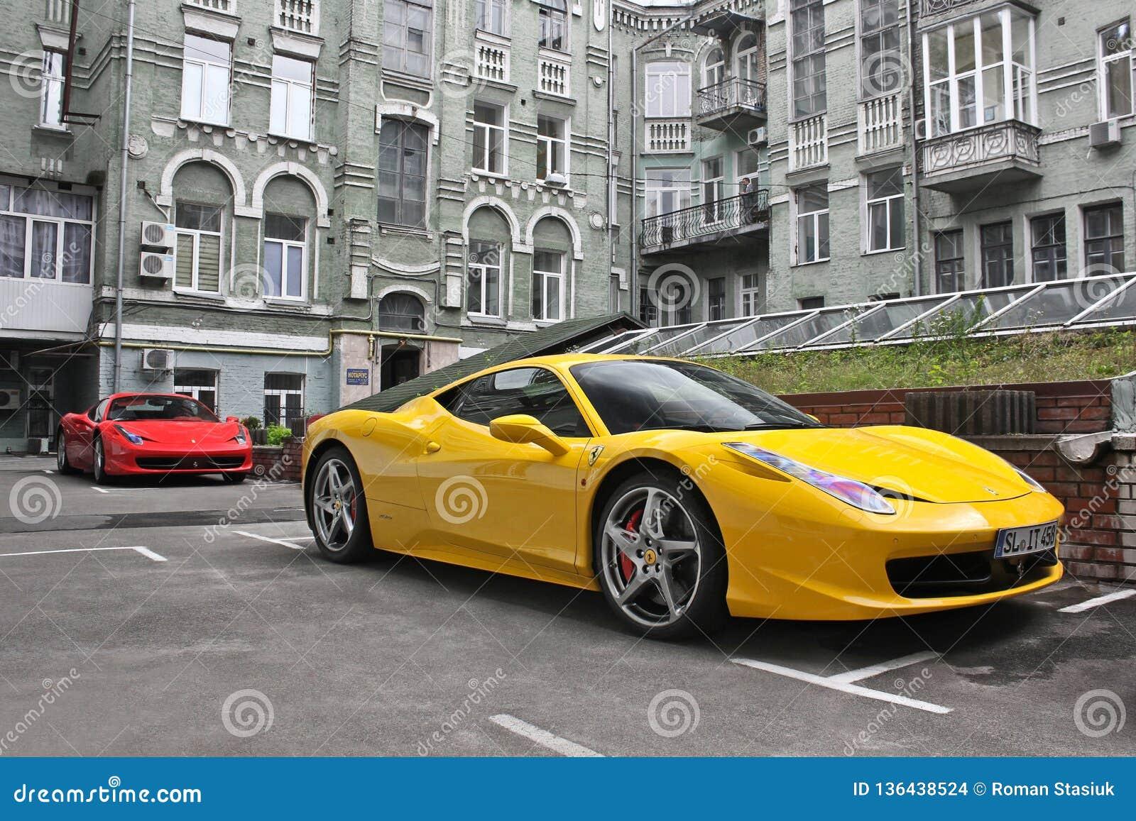 February 27 Ukraine Kiev Ferrari 458 Italia And Ferrari 458 Spider Yellow And Red Editorial Stock Image Image Of Gear Driver 136438524