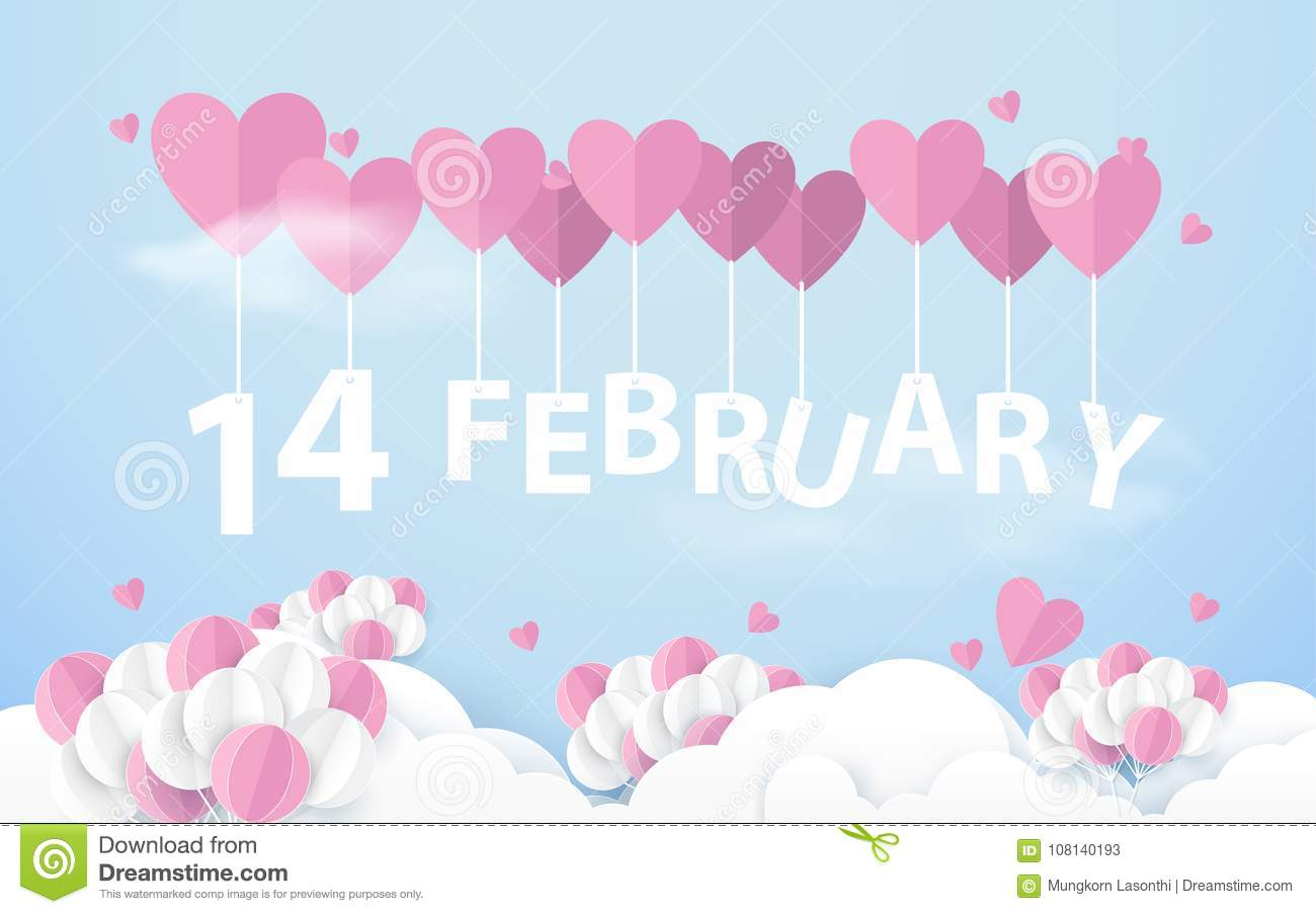 14 February Hanging With Pink Heart Balloons In Sky Happy