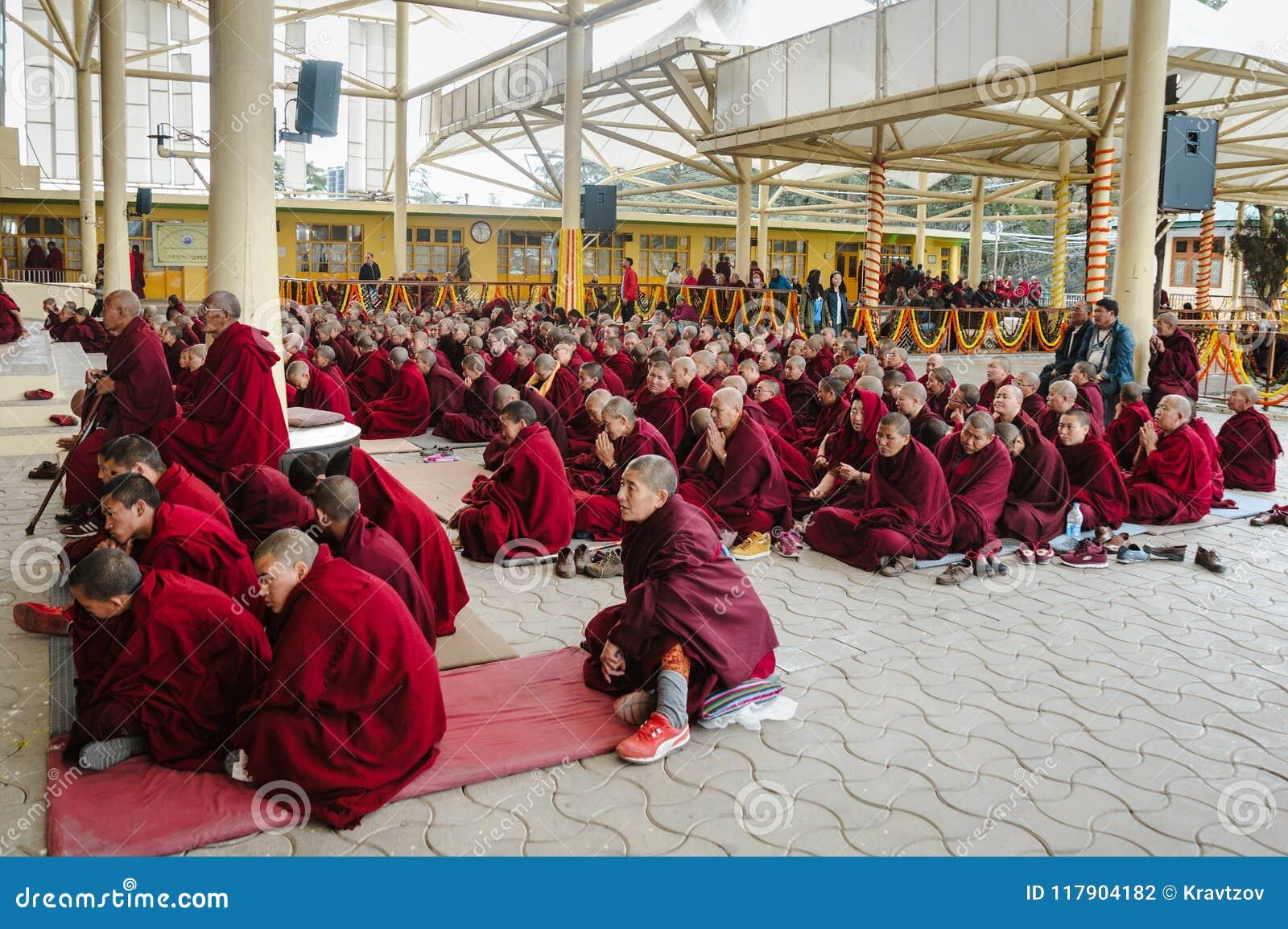 28 February 2018 India, Dharamsala. Big Group Of Tibetan ...