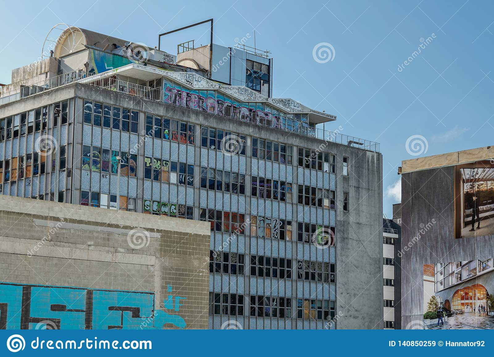 Earthquake damaged office building in downtown Christchurch, south island of New Zealand