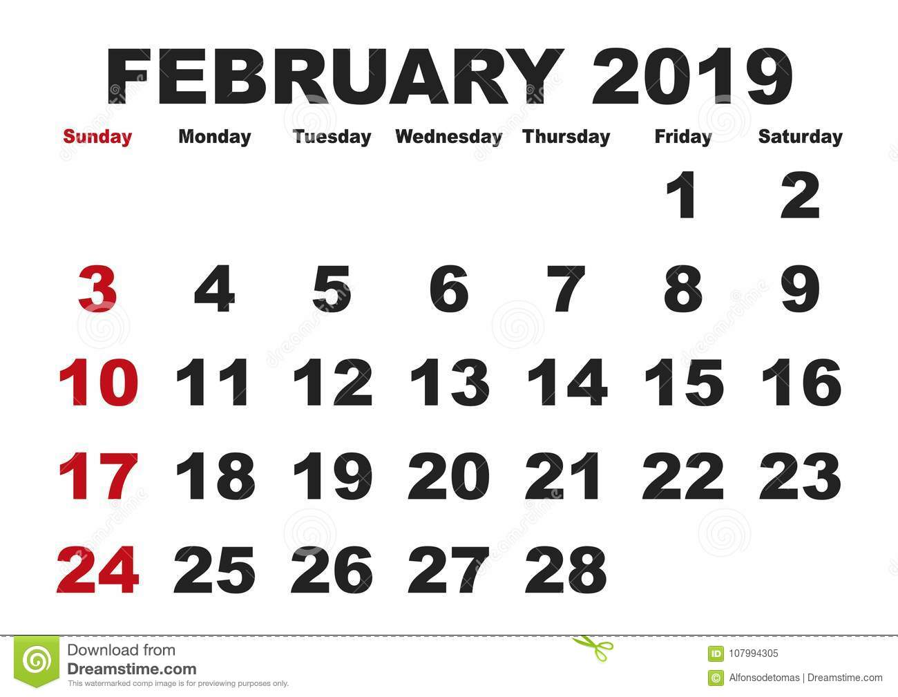 February Month Calendar 2019 English Usa Stock Vector Illustration