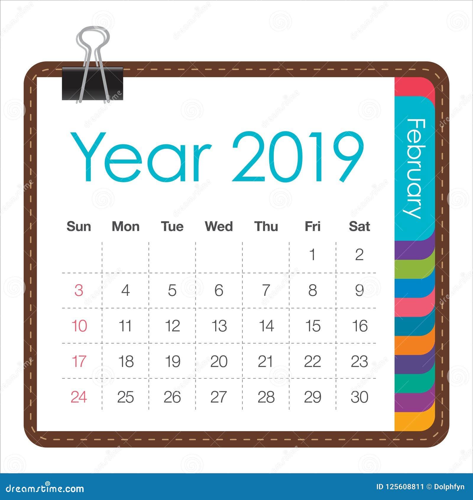 February 2019 Monthly Calendar Vector Illustration Stock