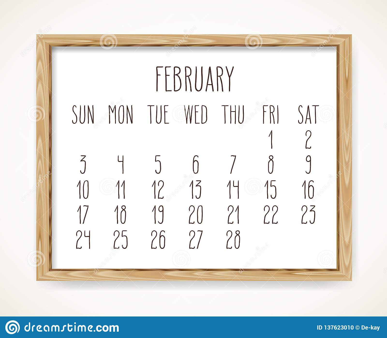 Monthly Calendar Grid February 2019 February 2019 Monthly Calendar Stock Vector   Illustration of
