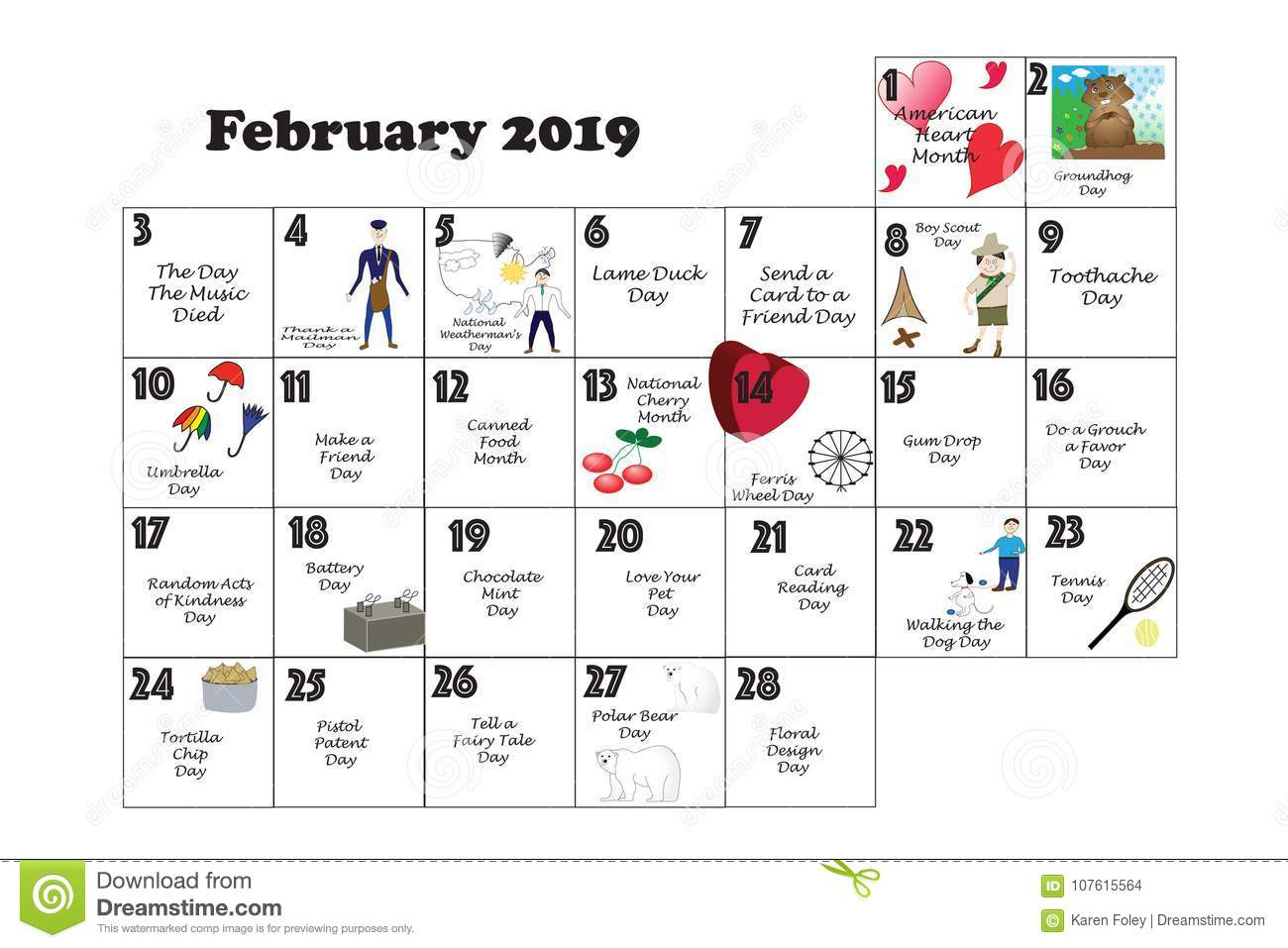 February Quirky Holidays And Unusual Events 2019 Stock Illustration