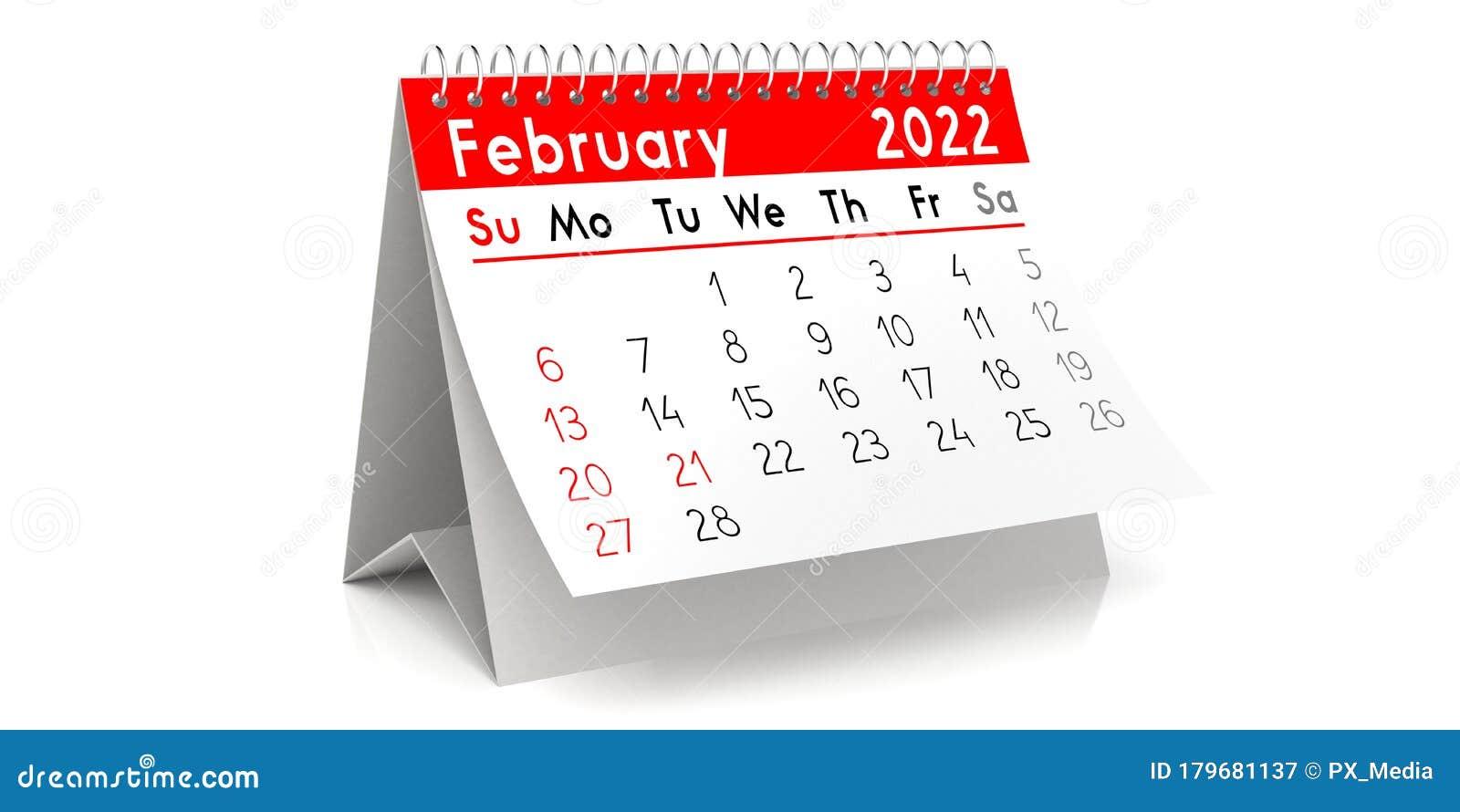 February 2022 Table Calendar 3d Illustration Stock Illustration Illustration Of Agenda Table 179681137