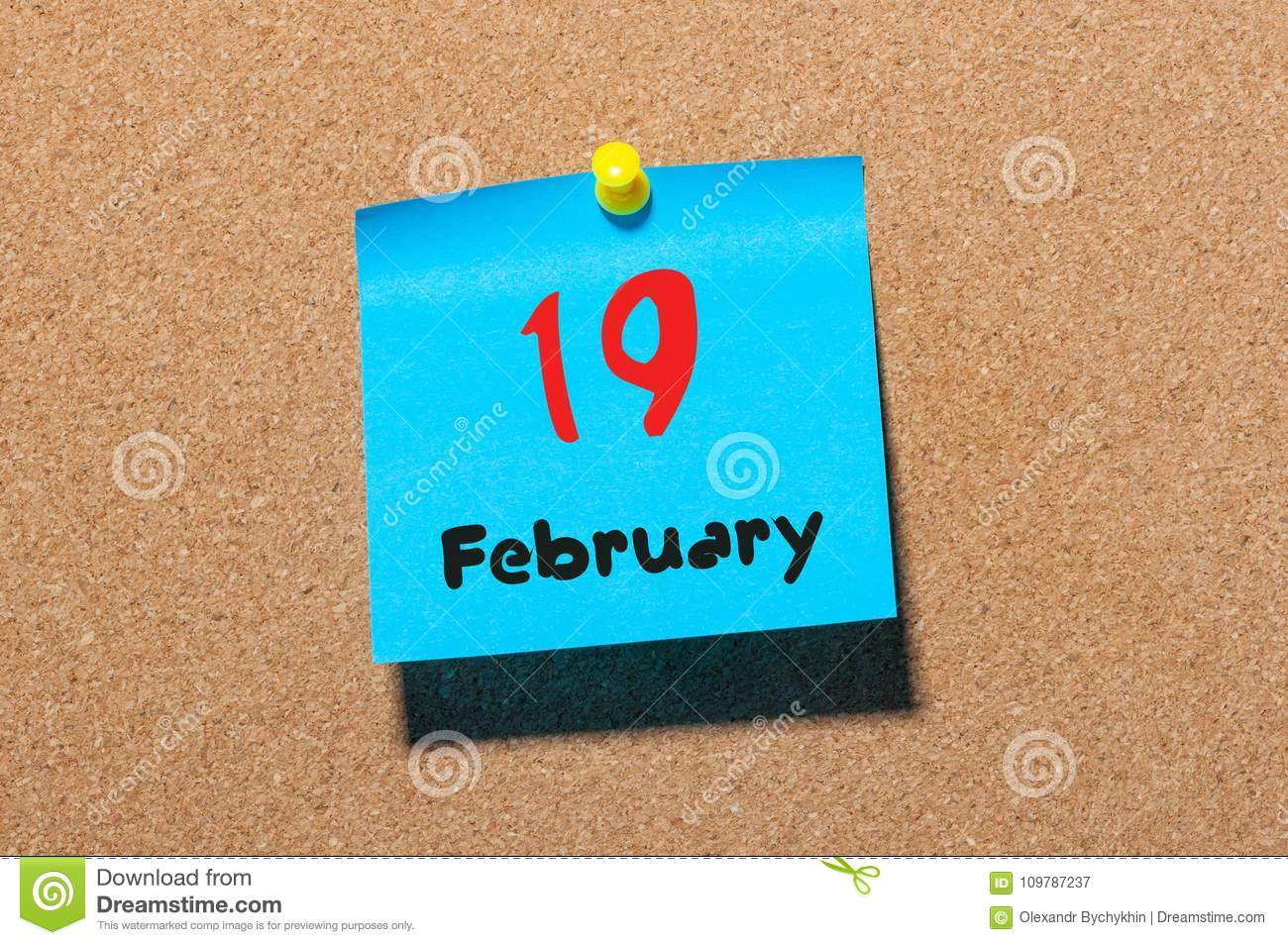 February 19th Day 19 Of Month Calendar On Cork Notice Board Background Winter Time Empty Space For Text