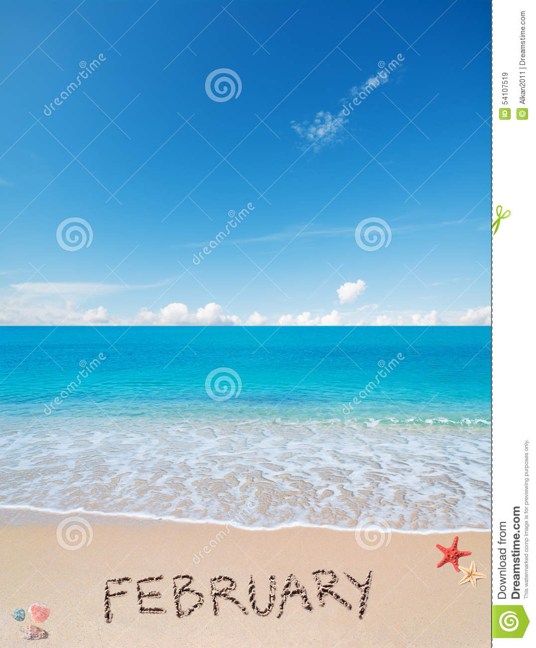 February on a tropical beach