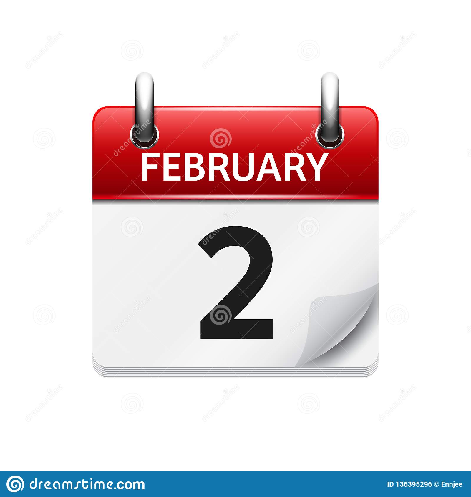February 2 Vector Flat Daily Calendar Icon Date And Time Day
