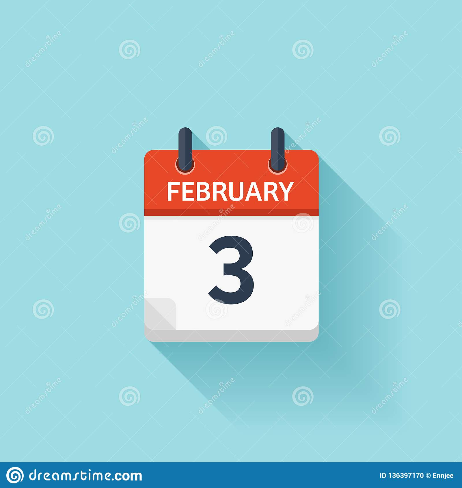 Daily Holiday Calendar.February 3 Vector Flat Daily Calendar Icon Date And Time Day