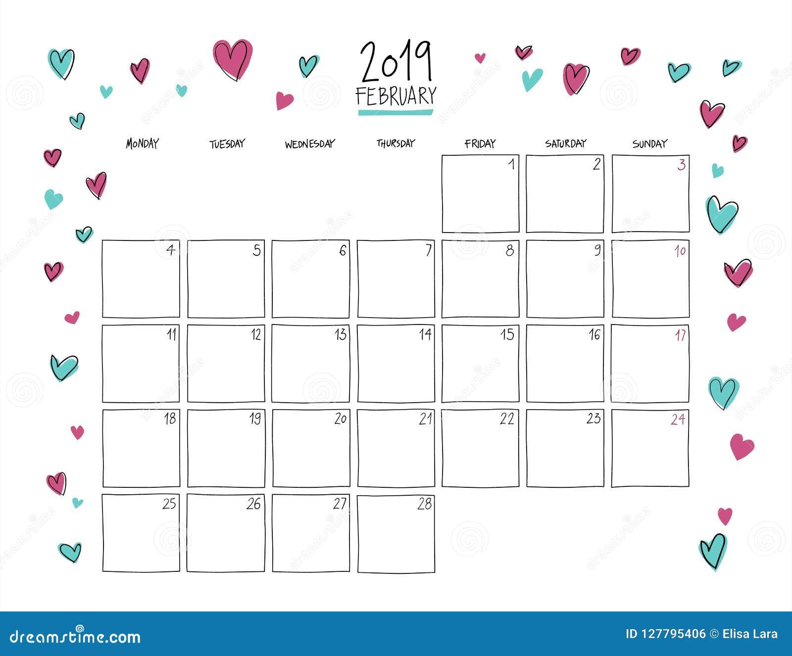 Horizontal Calendar Of February 2019 February 2019 Wall Calendar. Doodle Style. Stock Vector