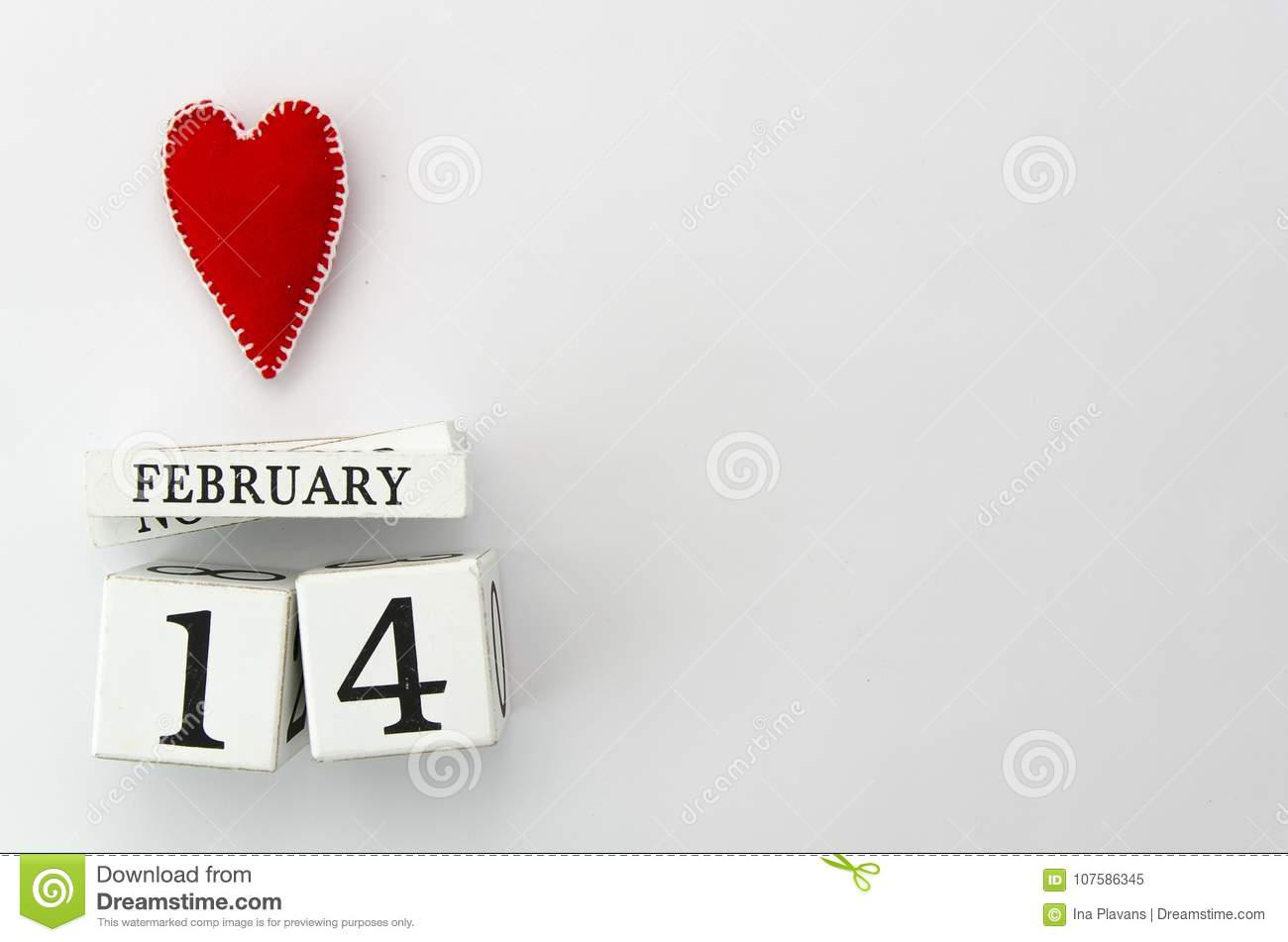 14 February White Wood Calendar With Red Heart On Top Valentine S