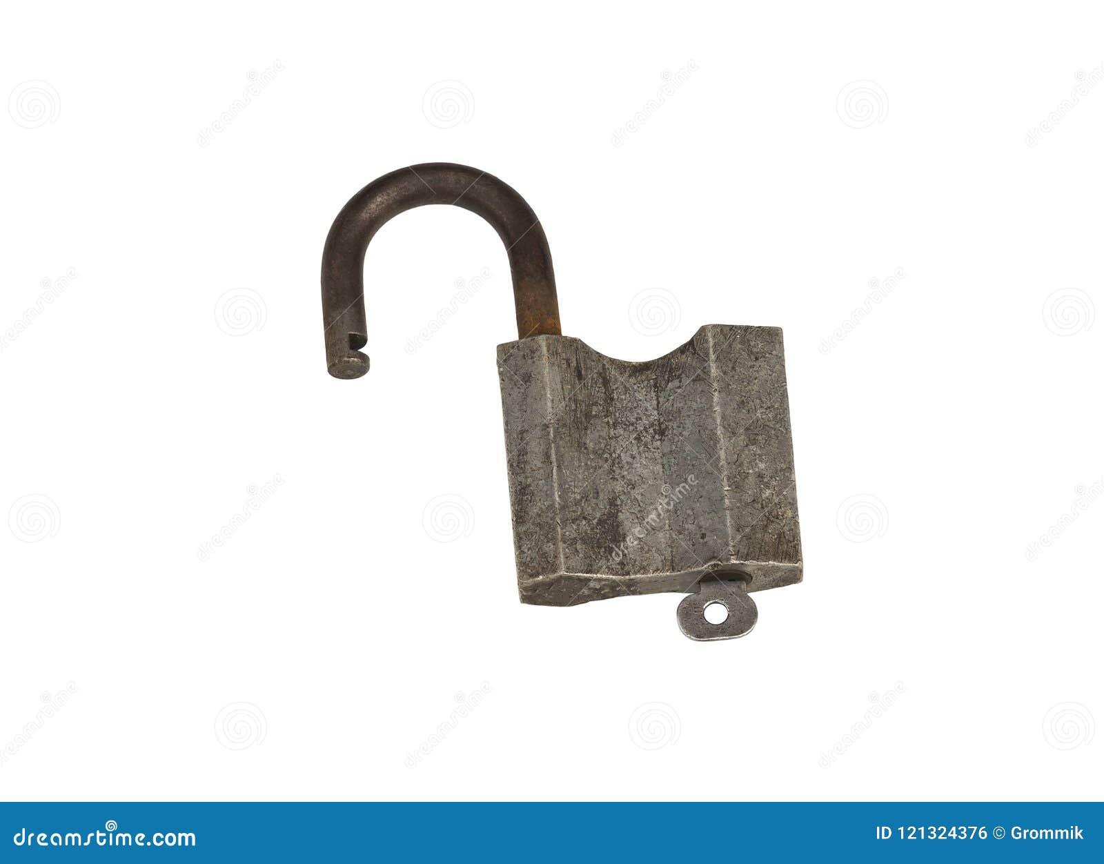 Fechamento aberto articulado do metal com chave, fundo branco