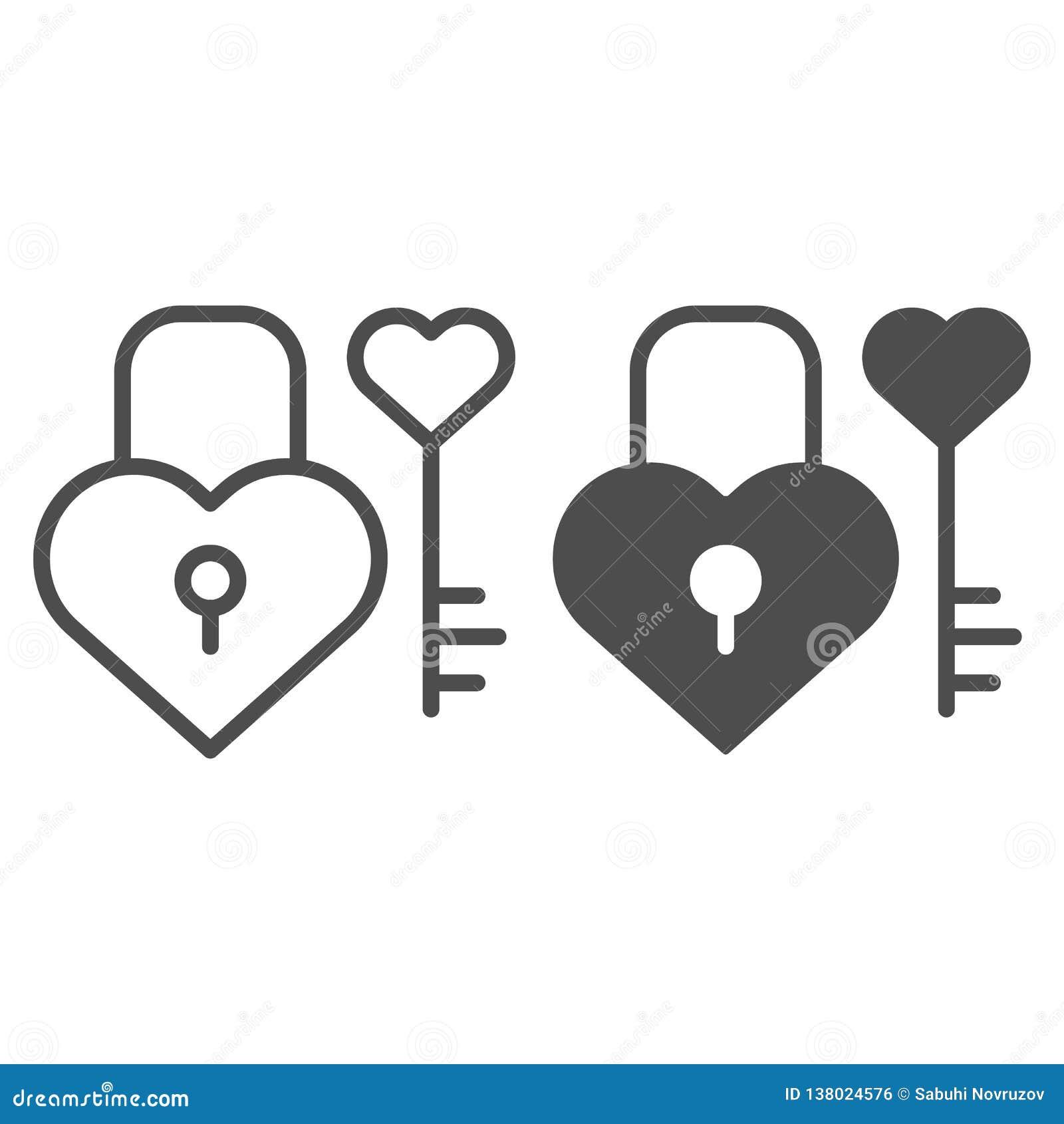 Fechamento E Chave Na Linha Da Forma Do Coração E No ícone