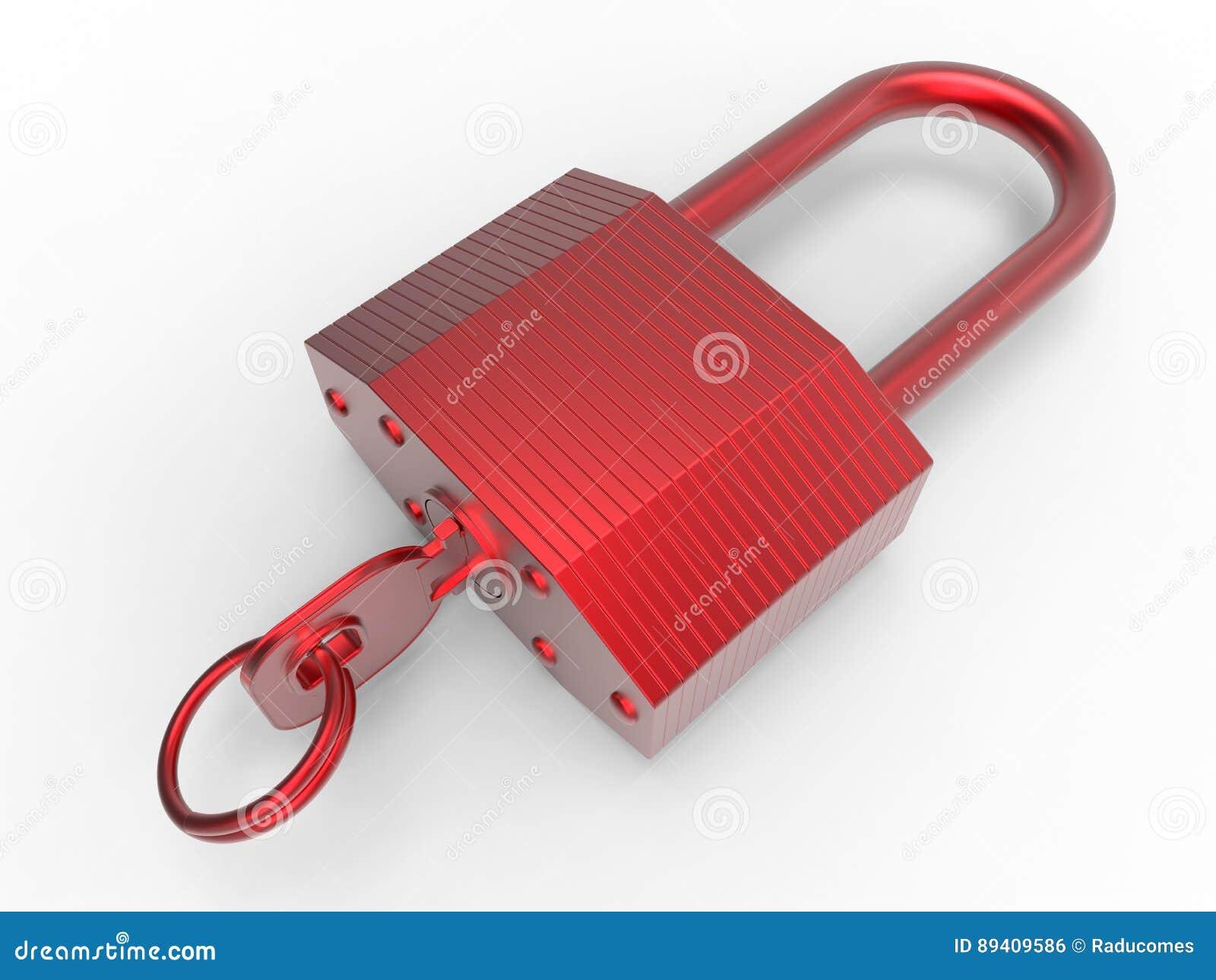 Fechamento vermelho e chave
